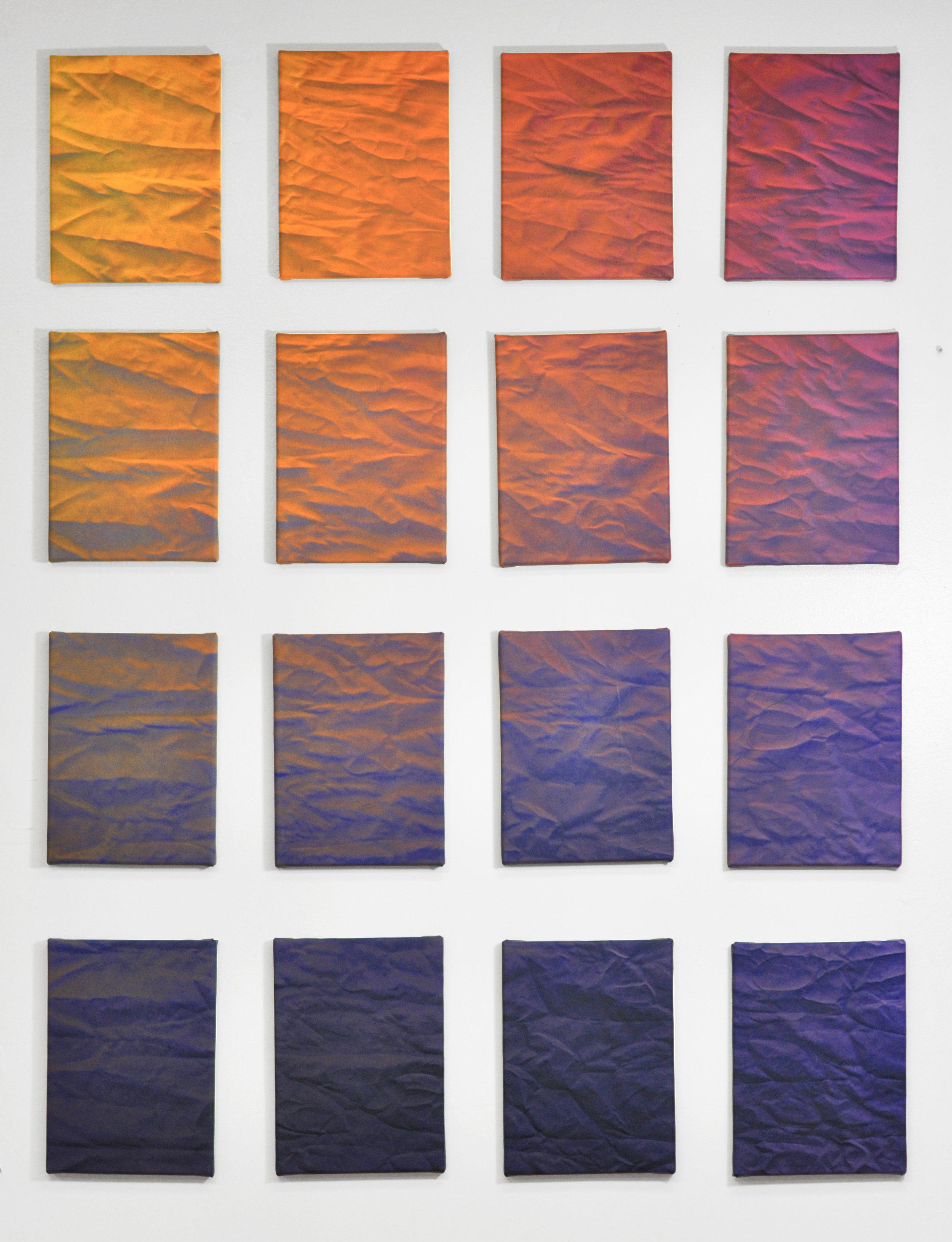 "Bonnie Maygarden , Icons , acrylic on canvas, 16-panel polyptych, 9x12"" each, 2016"