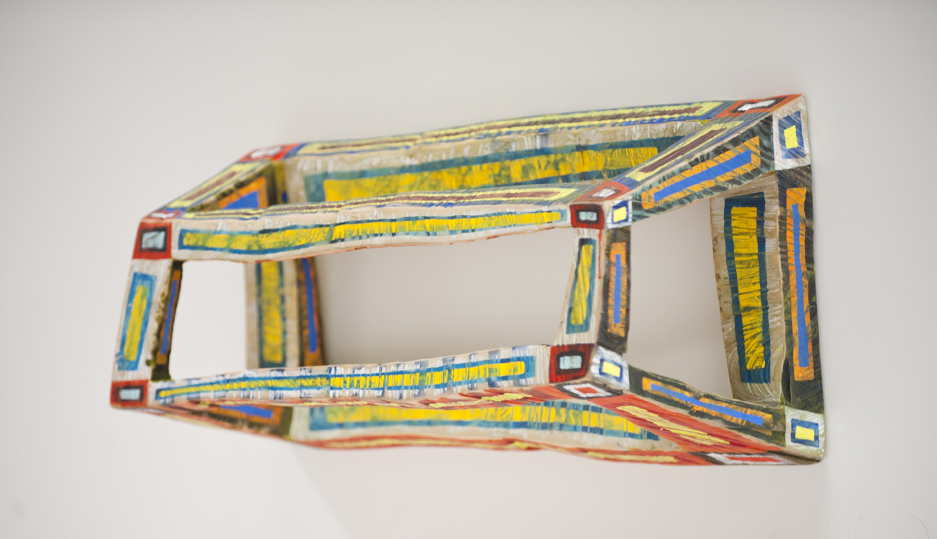 """Clark Derbes,  Hollow Box w/Concentric Rectangles , carved and polychromed maple wood, 23"""" x 13"""" x 13"""""""