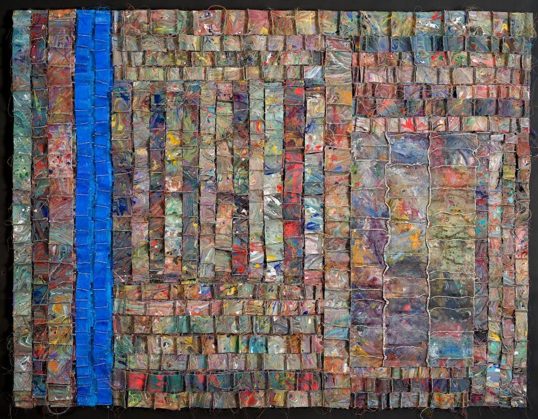 "Anita Cooke, Blue Vertical, Acrylic on canvas, thread. 43"" x 56"""