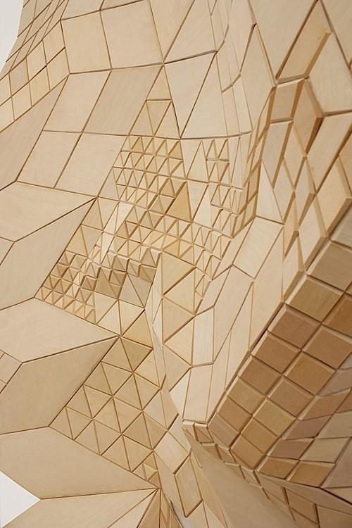 Marianne Desmarais, Tiling Field Shift  (detail), Basswood on linen, 7' x 4,' 2015