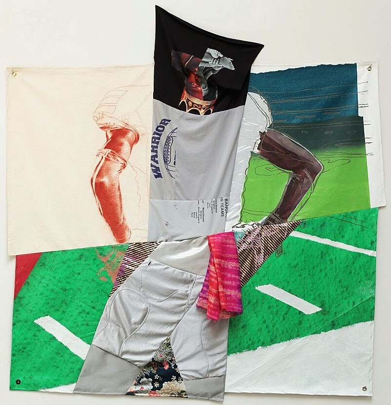 """Abdi Farah, I Want My Spot Back, Conté on canvas, acrylic and house paint on patent leather and recycled billboard vinyl, used clothes and assorted fabrics. 78"""" x 74,"""" 2018"""