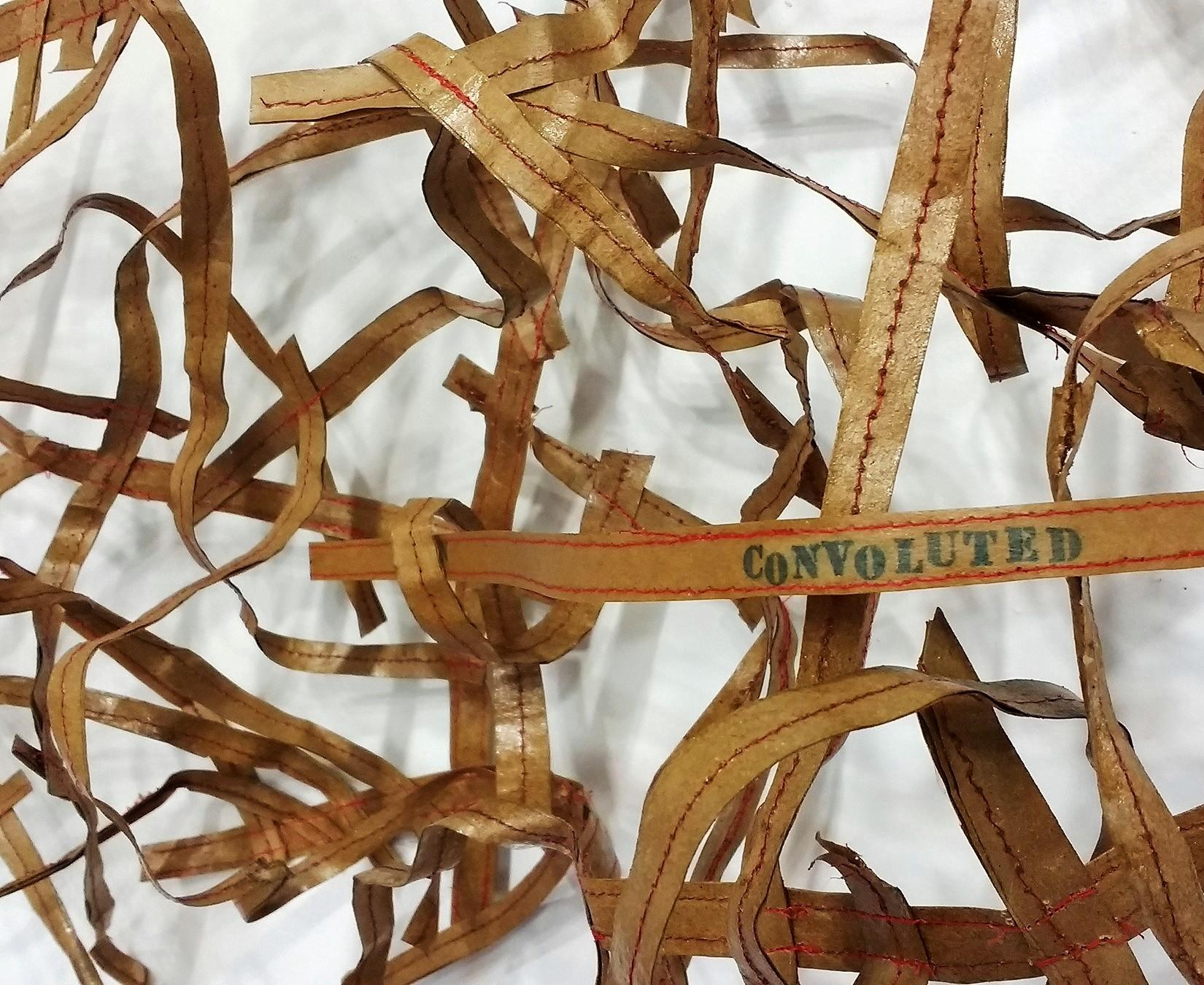"Convoluted  (detail), Paper, thread, wire, polyurethane, 24"" x 38"" x 12"", 2018"