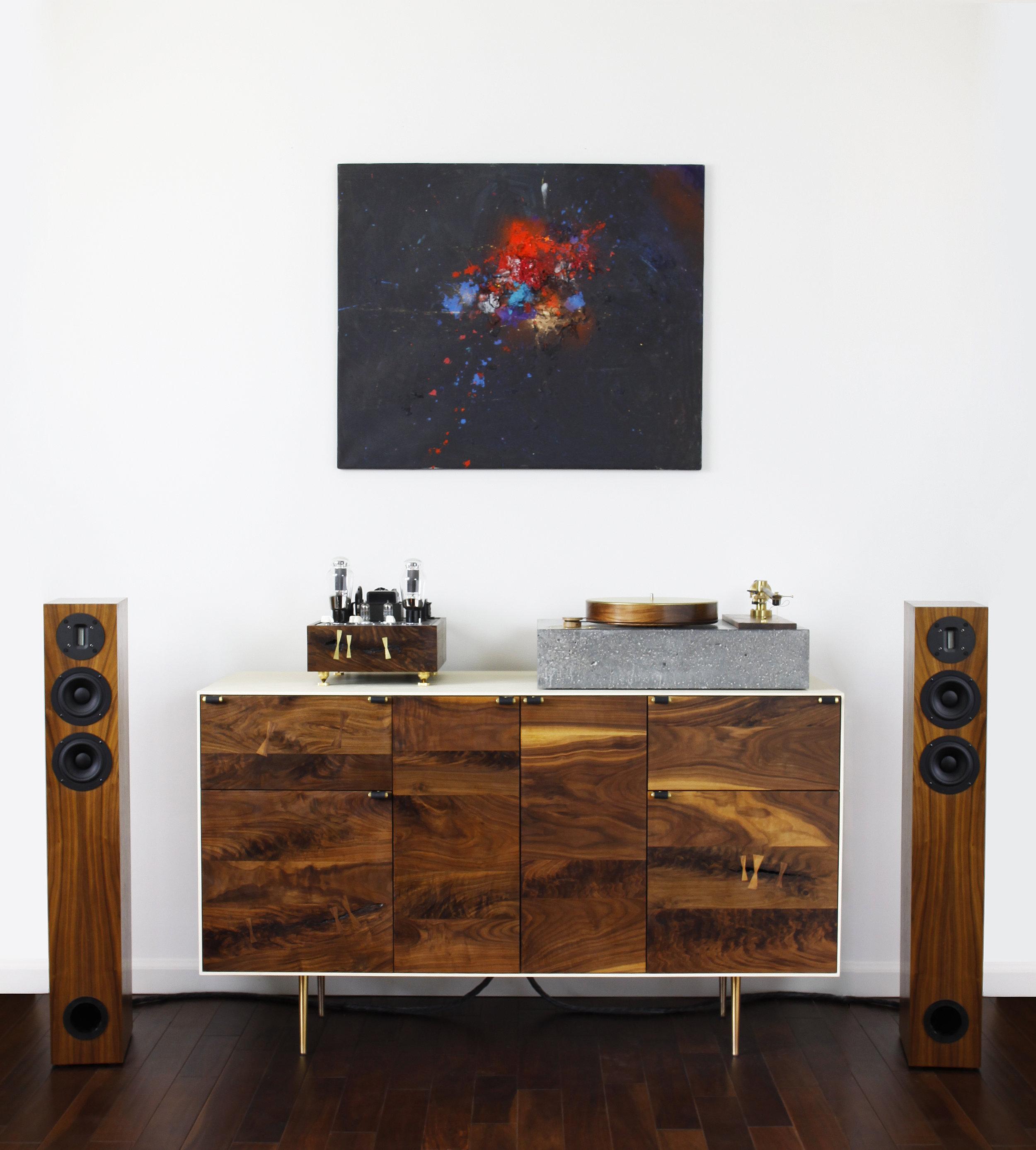 audio cabinet walnut