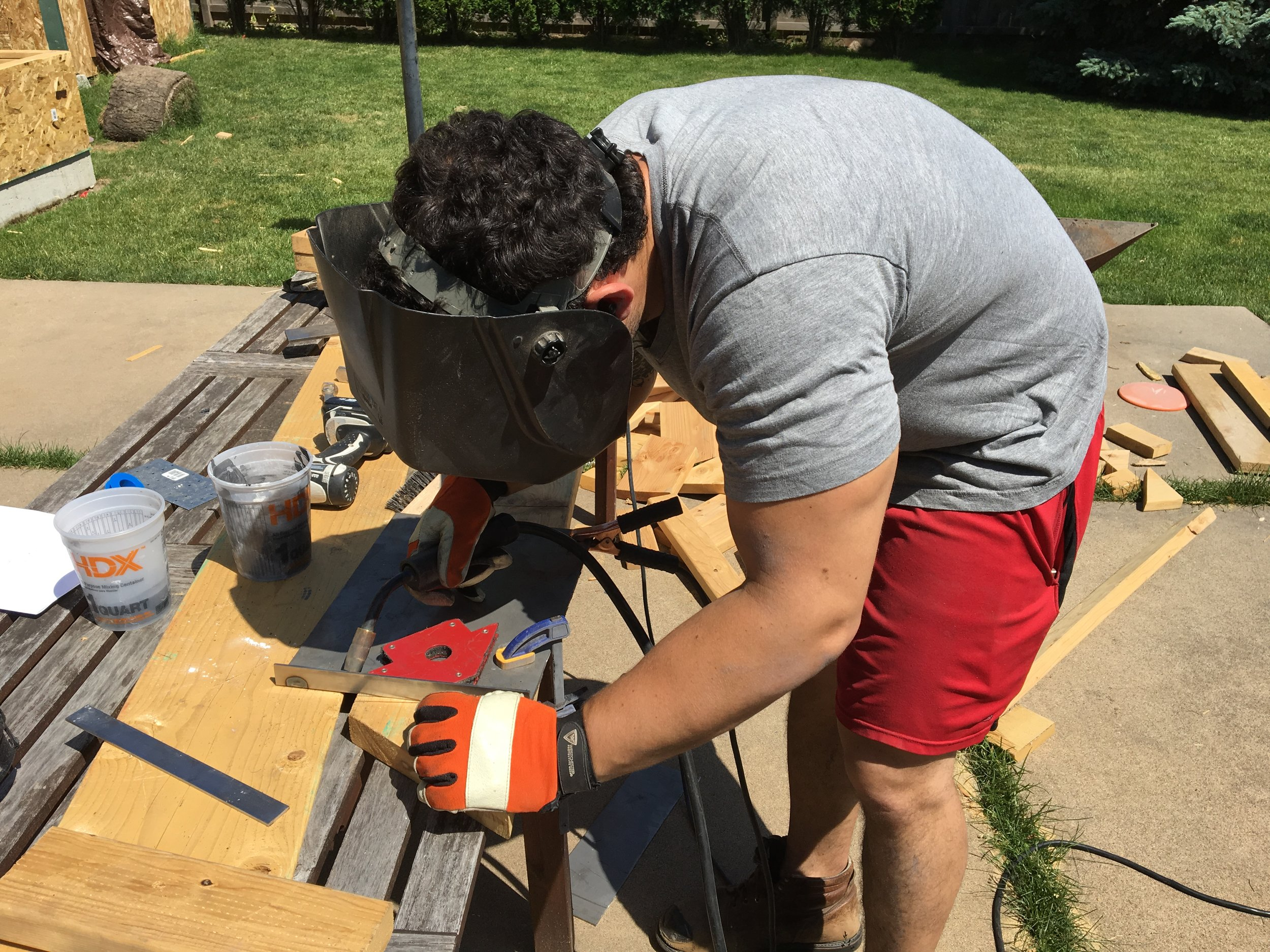 Welding on my welding bench / patio table.