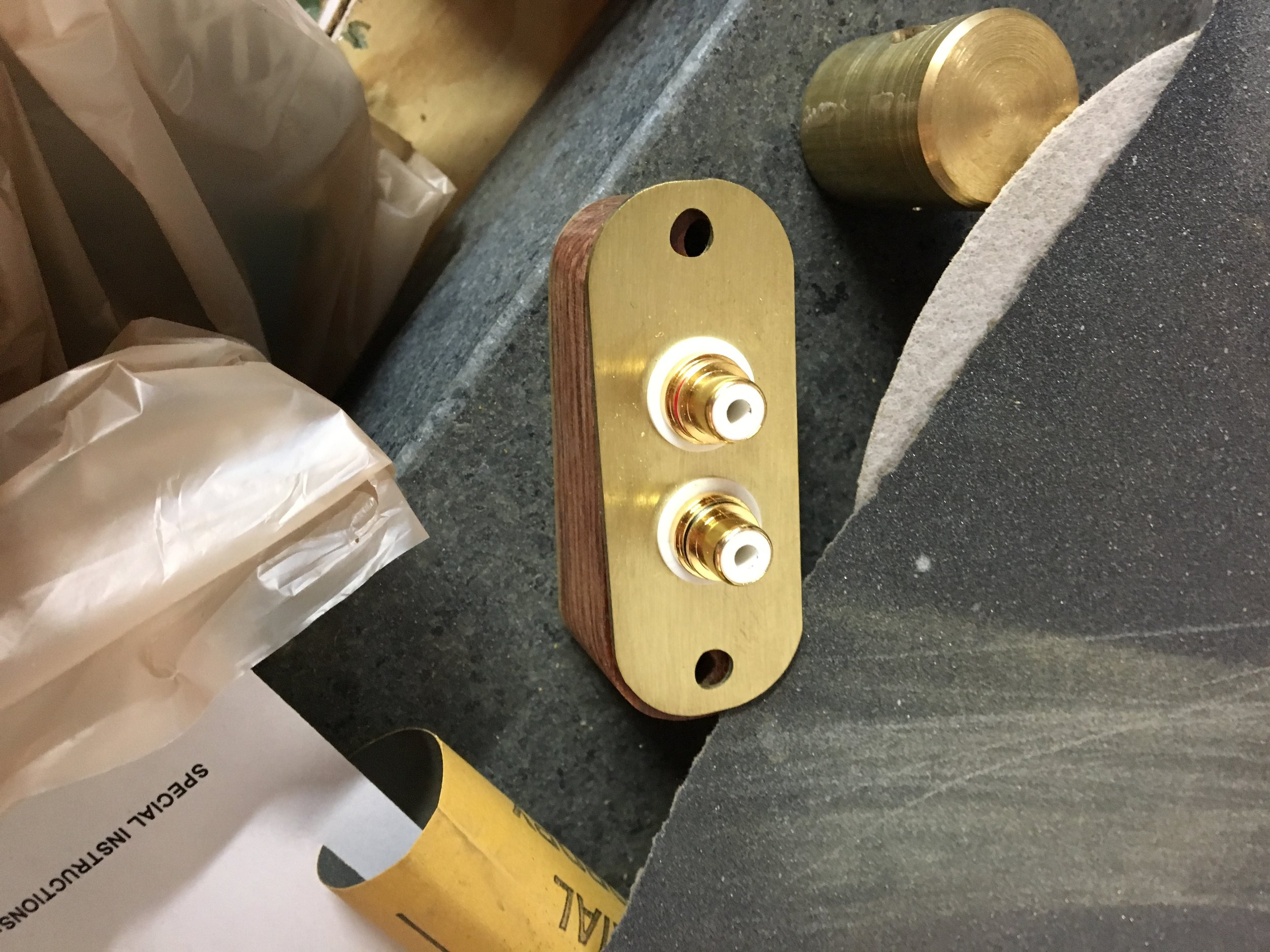 Cocobolo and brass RCA connections.