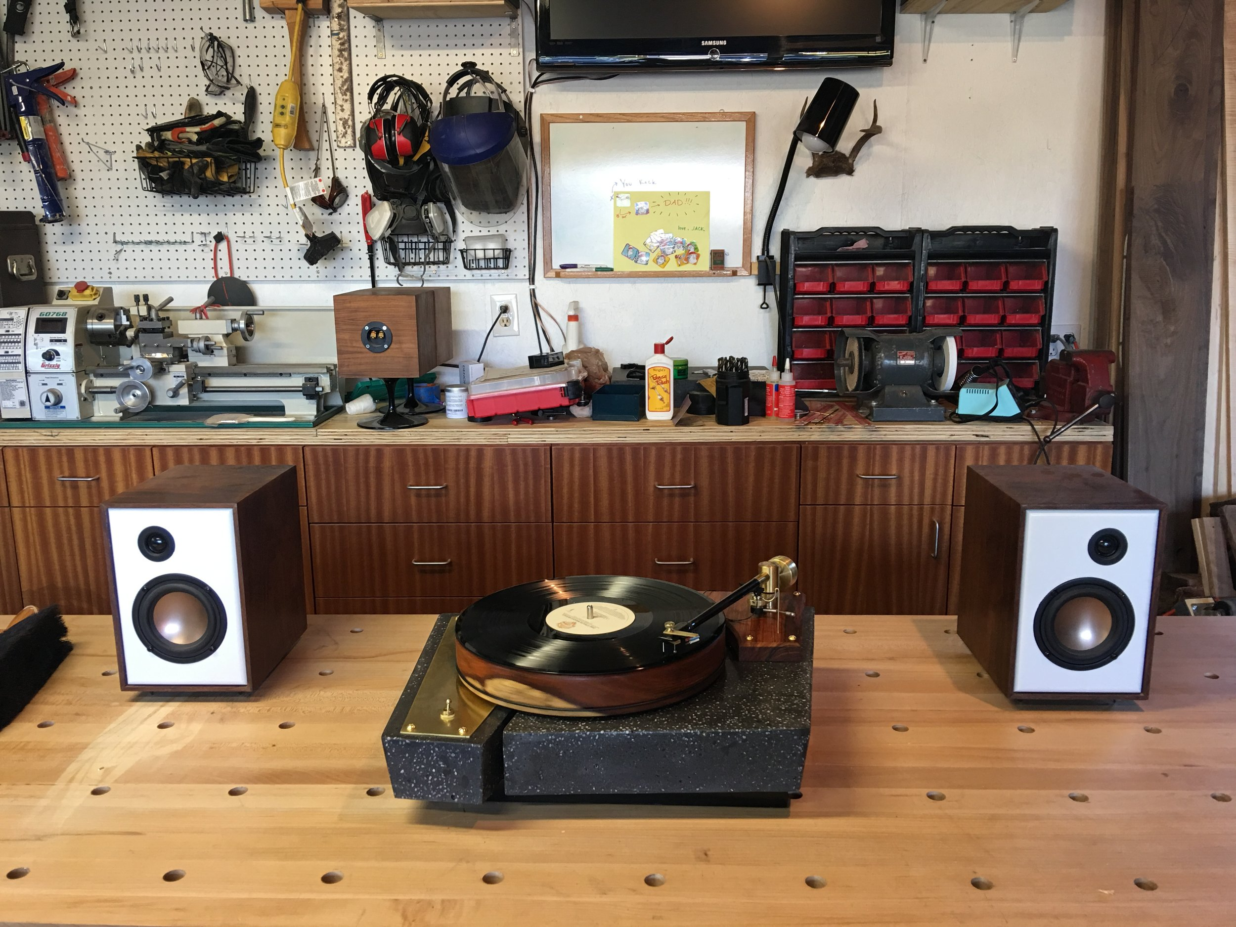 """The moment of truth - testing it out for the first time with a pair of speakers I built a few years ago - Paul Carmody's """"Overnight Sensations."""""""