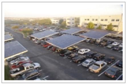 Dell headquarters parking lot with EV charging stations Source: Envisionsolar.com/project-portfolio/parksolar/