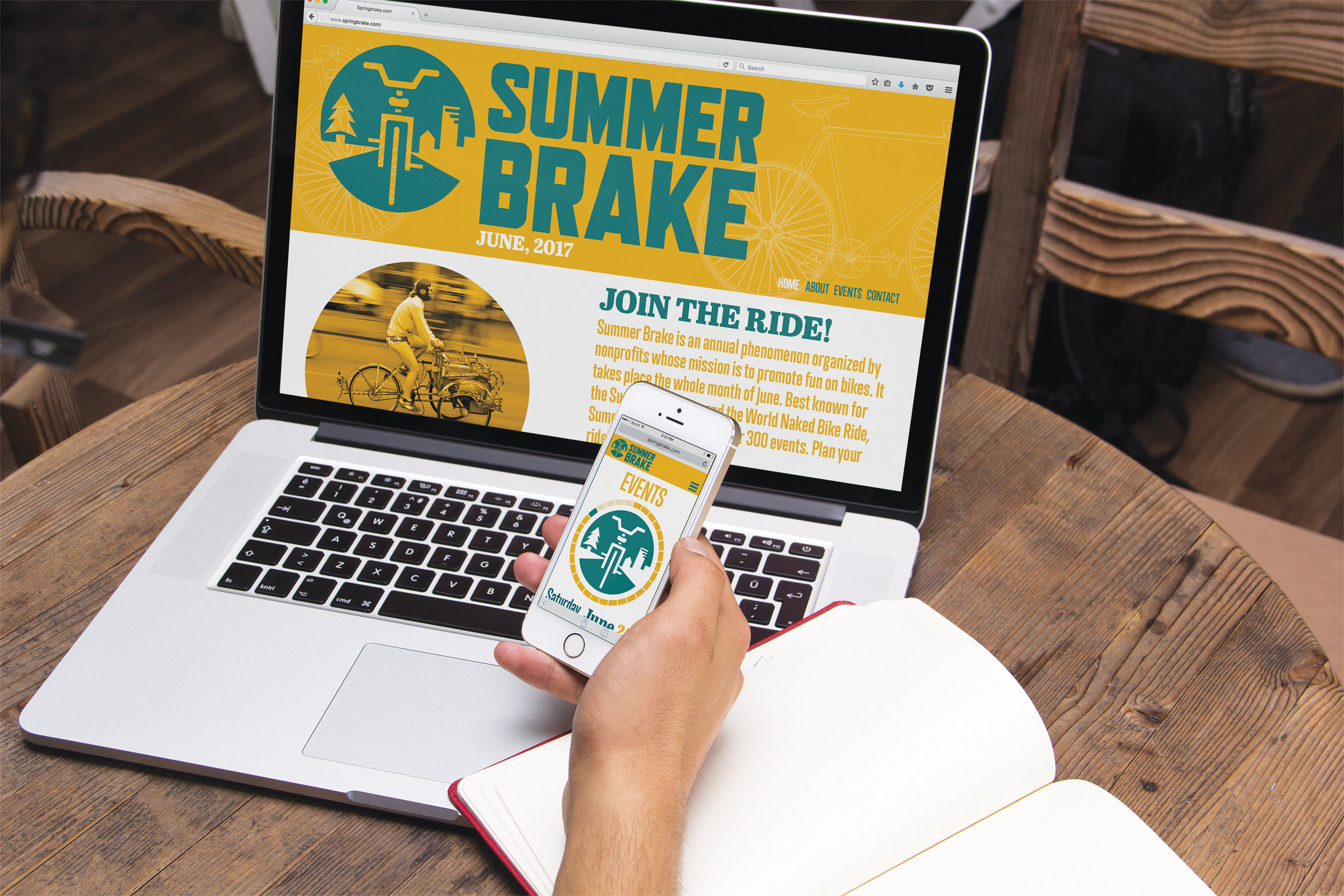 Summer Brake - Annual bicycle celebration for adventurous riders of all ages. A unity of organic grit with polished elements reflects Portland's mix of nature within the city.