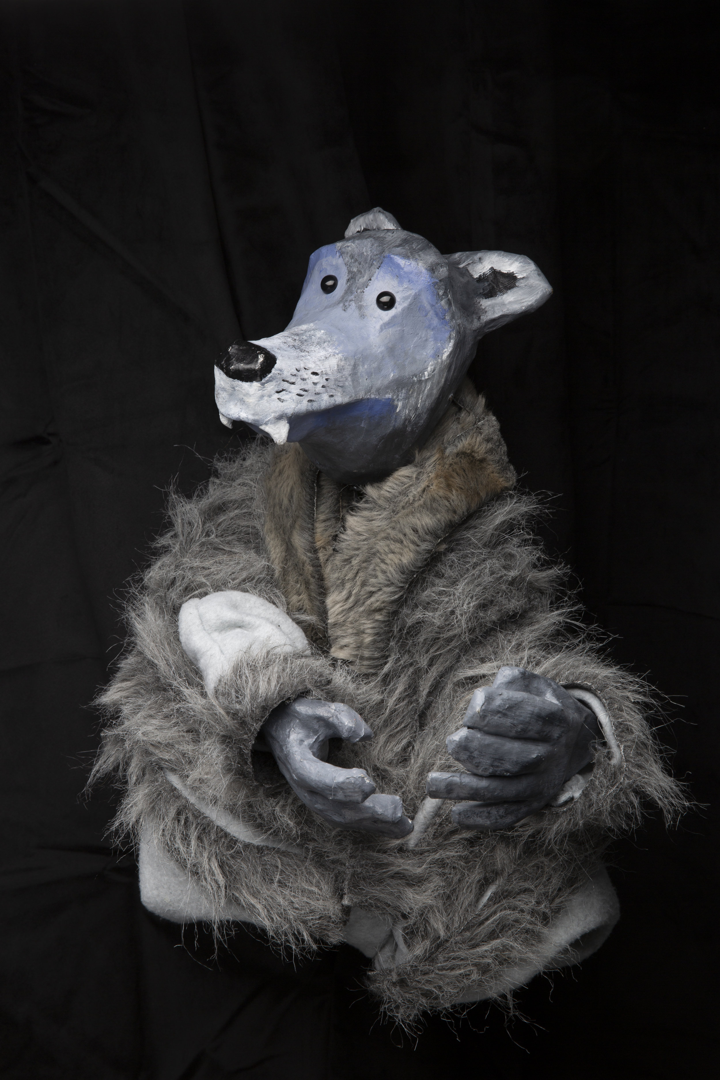 And just because we're on a photo kick, look at this beautiful wolf puppet. He didn't end up in the show but Eric photographed him anyway, because wolf puppet. He only appeared for a minute onstage in  Grimm!  - had one line and got beaten up by the little girl hero of the show. Which is bonkers when you consider the hours and levels of detail lavished on him by Ora.
