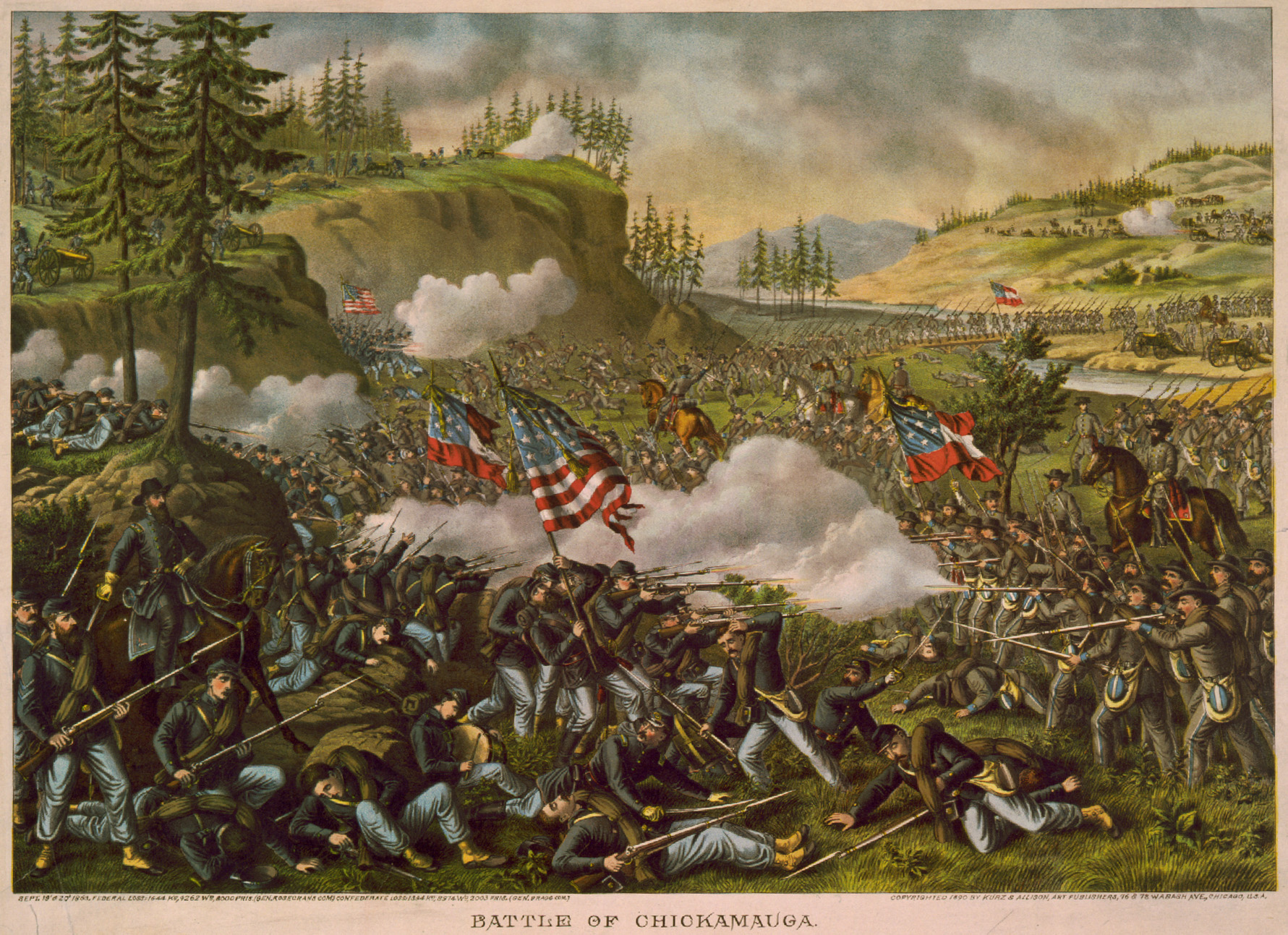 """Battle of Chickamauga"" By Kurz & Allison - Library of Congress, Public Domain, https://commons.wikimedia.org/w/index.php?curid=1484303"