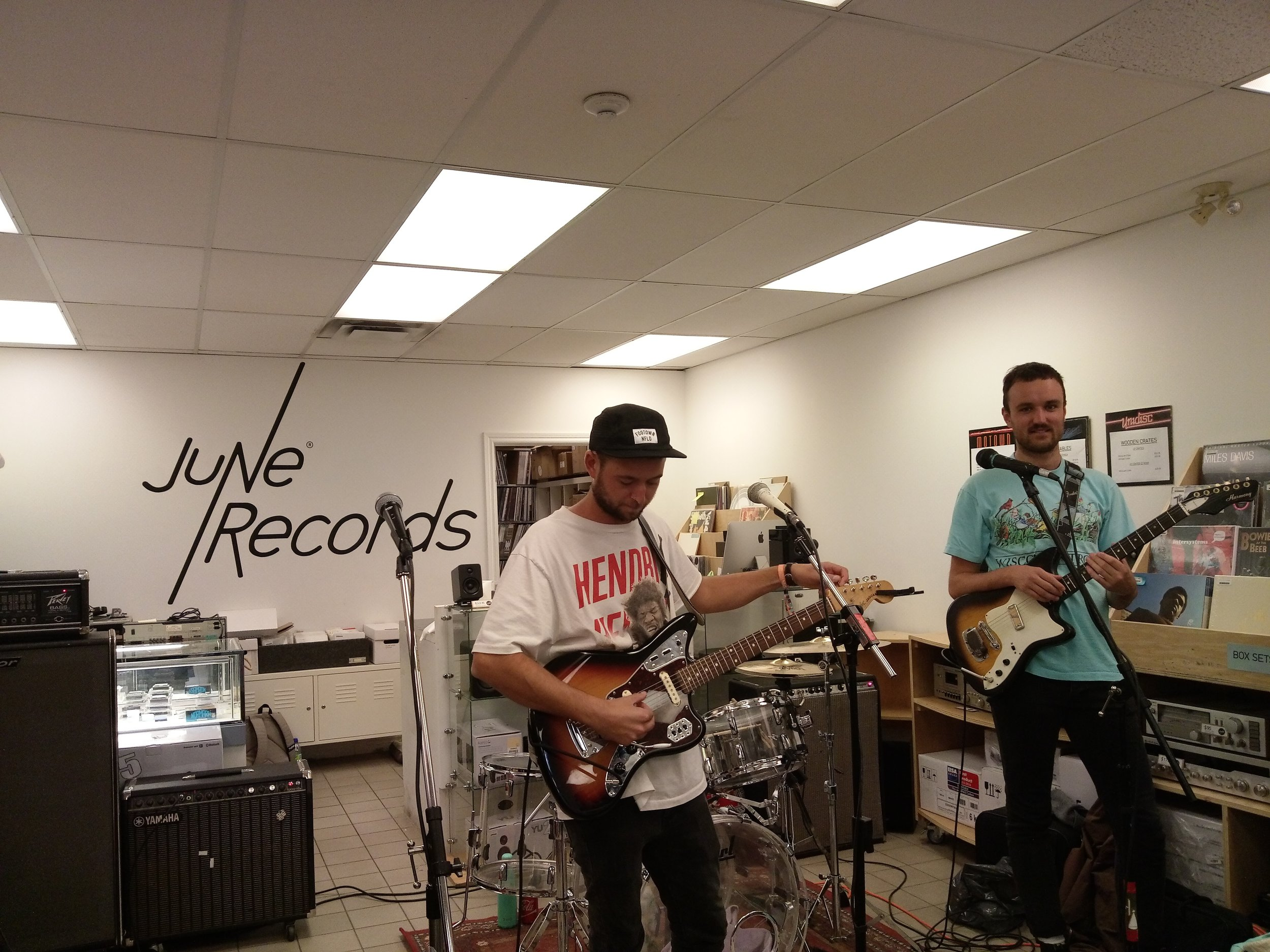 Played an instore at Toronto's June Records with Calgary's Lab Coast. Some of them also play with our hero Chad Van Gaalen!