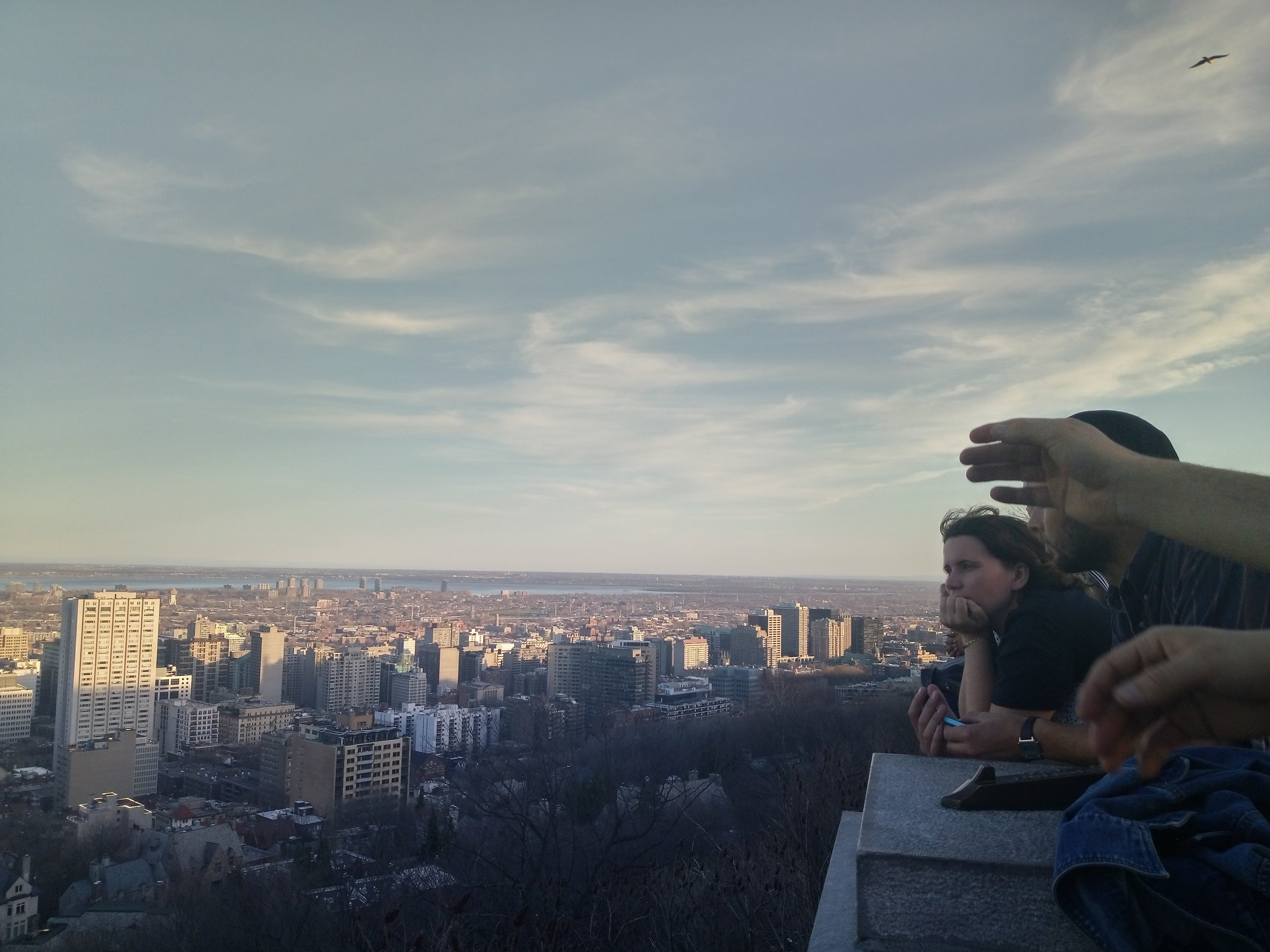 Jo looking out over Montreal.