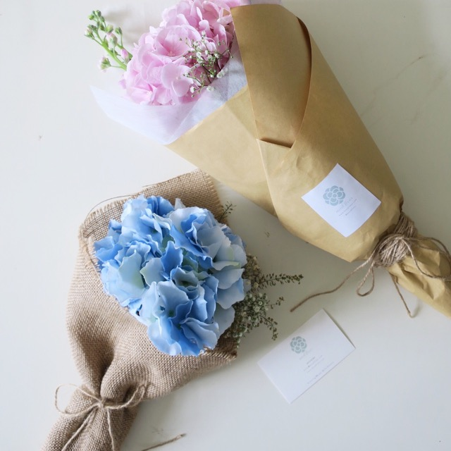 Ajisai Hydrangea Series, blue one is a silk hydrangea flower.