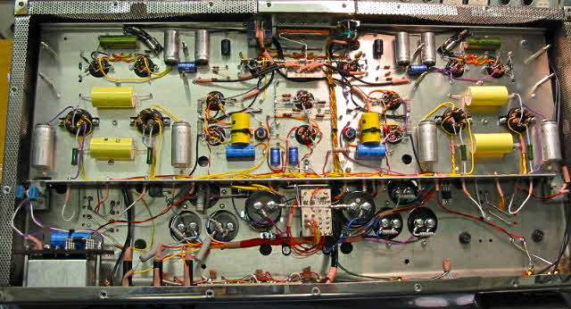 """The sub-chassis of Geoff's Proteus 4040 valve power amplifier. The discrete components are good quality but easily sourced """"off-the-shelf"""" items."""