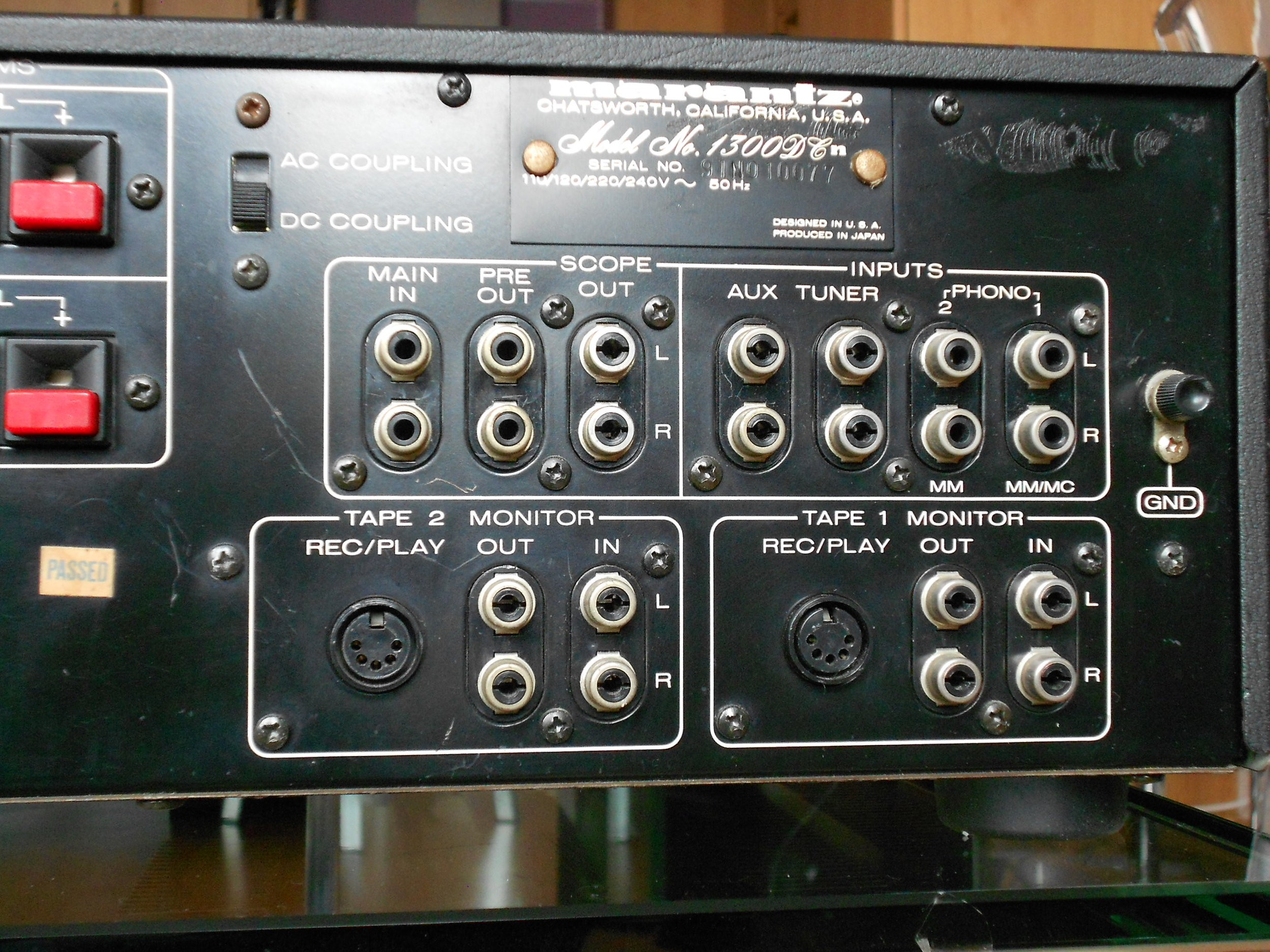 Marantz 1300DC amplifier rear view.