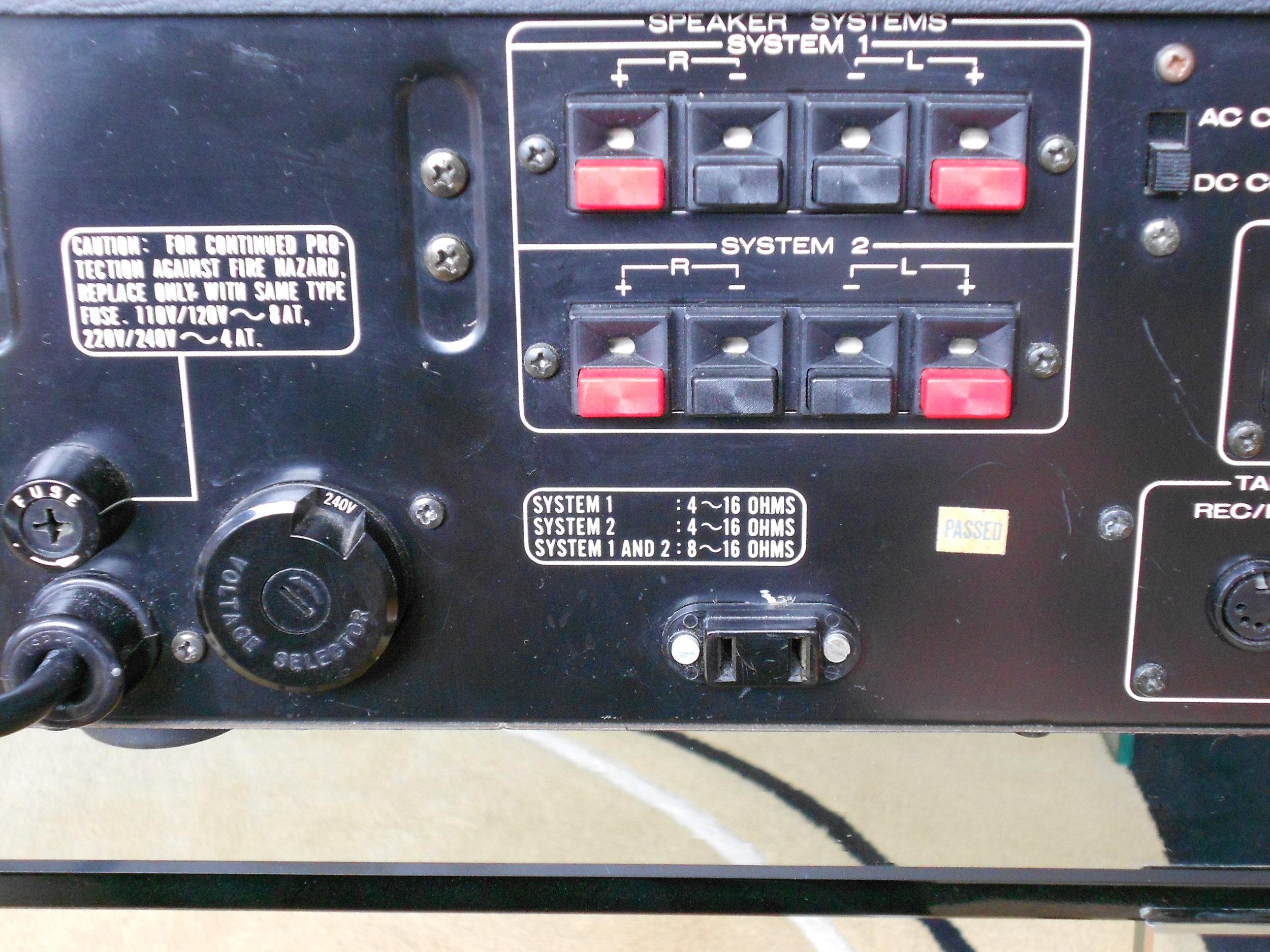 Marantz 1300DC integrated amplifier rear view.