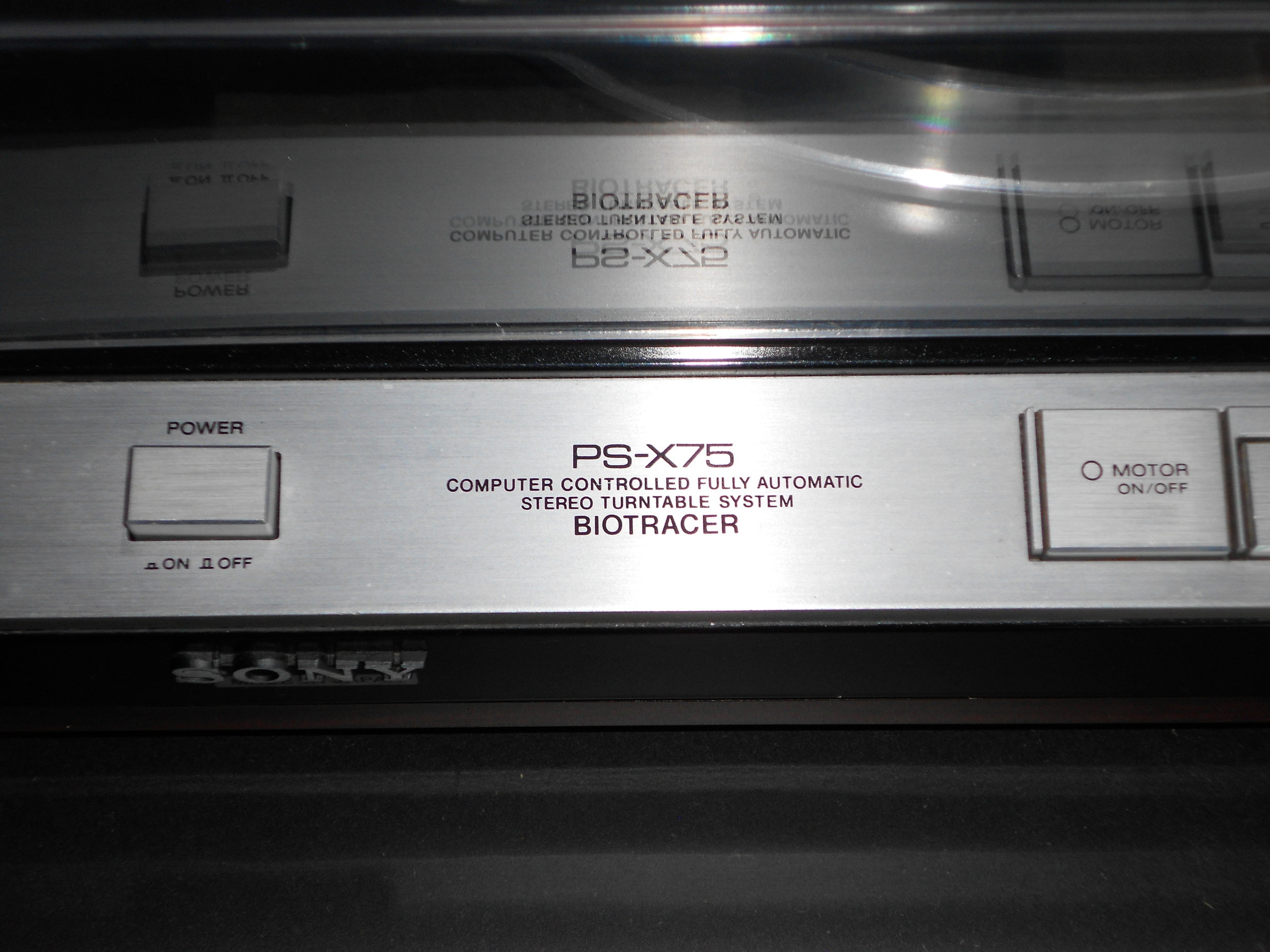Sony PS-X75 Biotracer turntable panel.
