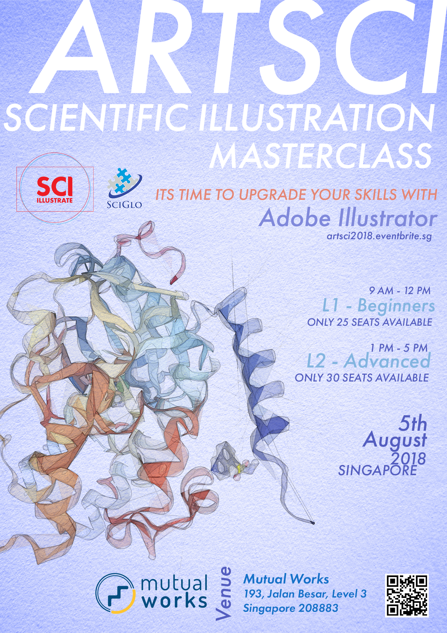 Want to learn how top journals make their beautiful scientific illustrations? - After the overwhelmingly positive response to ARTSCI 2017, Sci-Illustrate and SciGlo bring to you once more, ARTSCI 2018.Our aim with this workshop is to transfer knowledge, invest in your skill development and teach you how to use key professional tools to level up your scientific illustration and visual communication game.