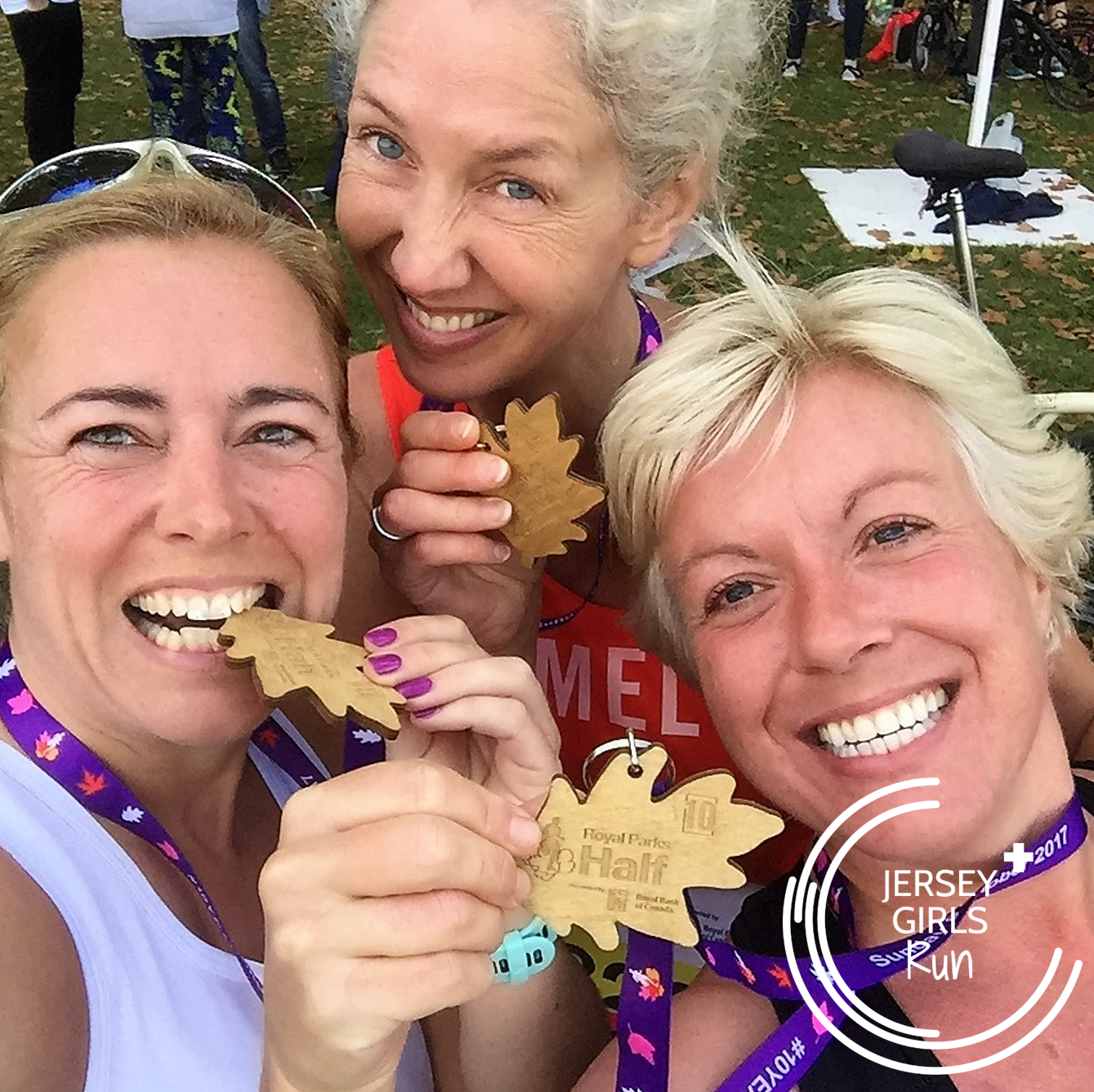 8 OCTOBER 2017 - Royal Parks Half Marathon - Three JERSEY GIRLS, one of our Leaders in Running Fitness Laura, Melanie and Annabel, headed over to London to take part in the Royal Parks Half Marathon.  The Royal Parks is a lovely route starting out from Hyde Park, down Constitution Hill, through St James' Park, past Horse Guards Parade, through Whitehall past the Cenotaph and Downing Street, along she Strand to Aldwych before looping back to Trafalgar Square, down the Mall towards Buckingham Palace then back to Hyde Park and Kensington Gardens before finishing just by the Royal Albert Hall. A great sightseeing tour and fantastic atmosphere.