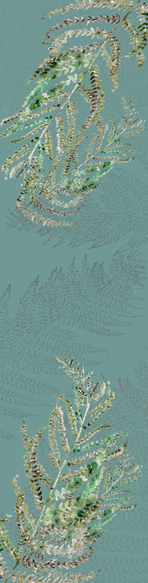 Digital print on Irish linen.  Inspired by Meath hedgerows, drawings and watercolour paintings of ferns..  178 cm X 47 cm