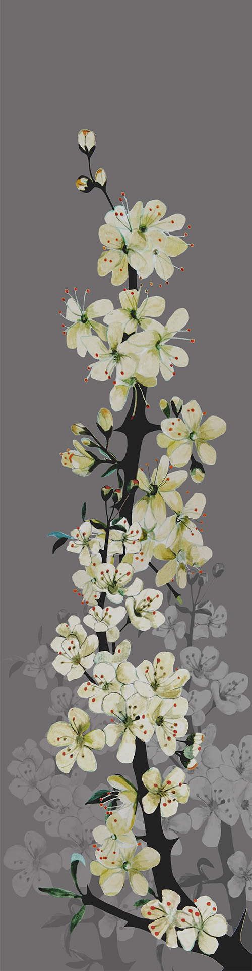 Digital print on Irish linen.  Watercolour paintings of the Blackthorn flower are overlapped, to make an attractive wall hanging.  178 cm X 47 cm
