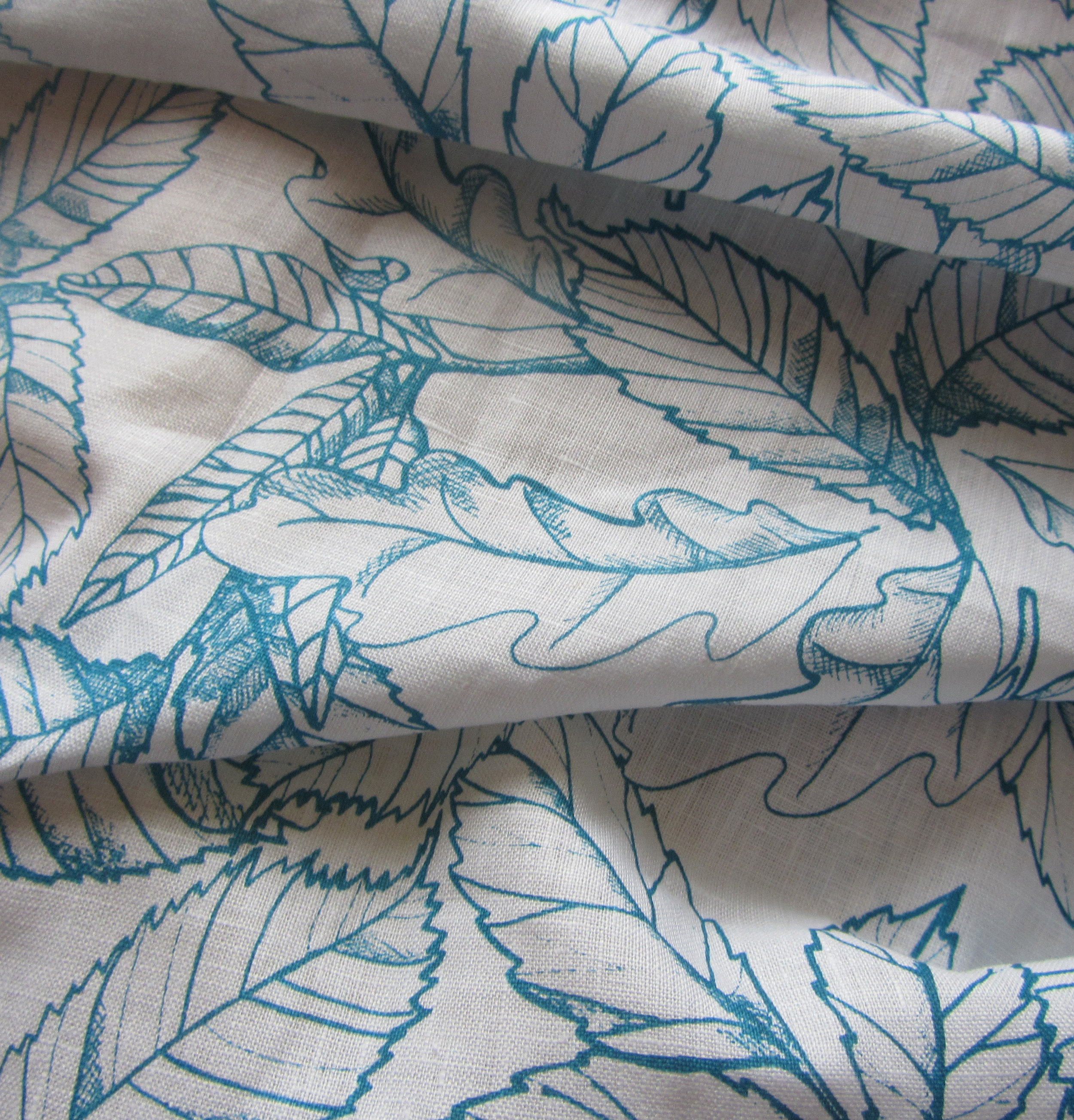 Prints come in many colourways. Detail on Irish linen