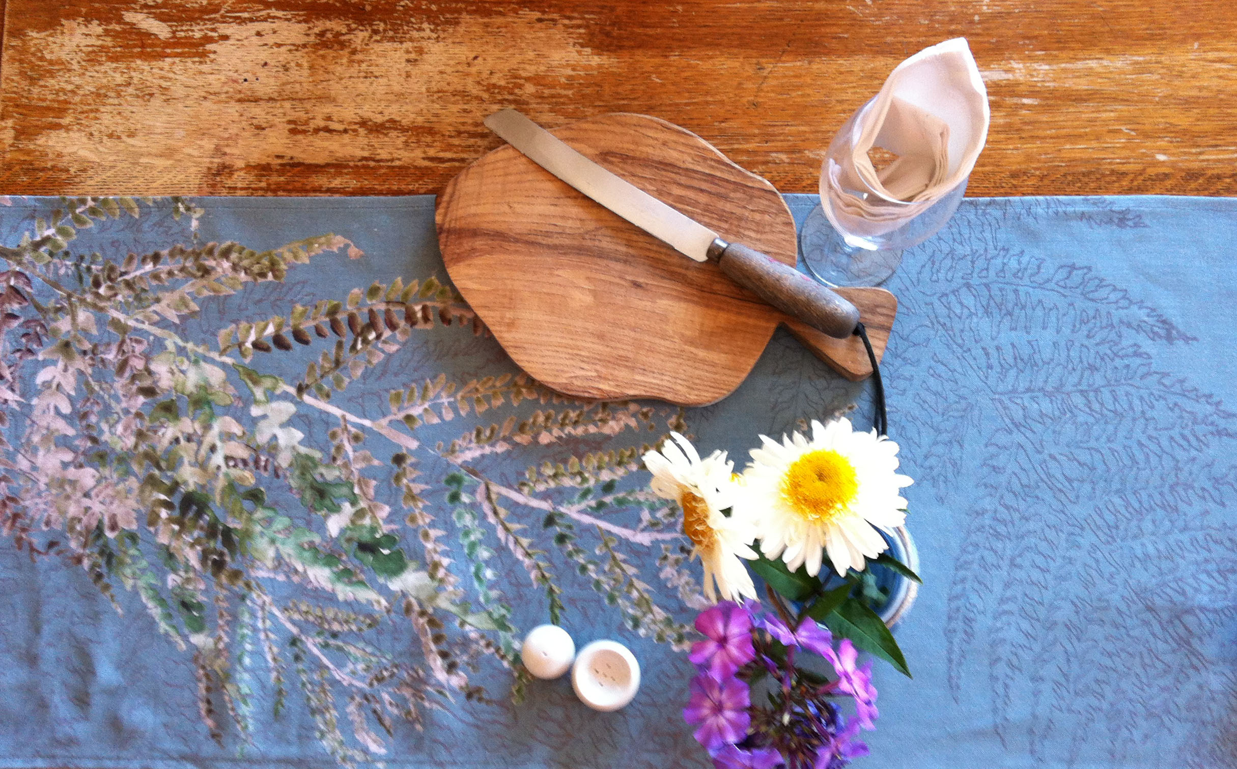 Digitally printed table runner. Inspired by Irish hedgerow ferns, painted in Watercolour and transferred to Irish Linen.