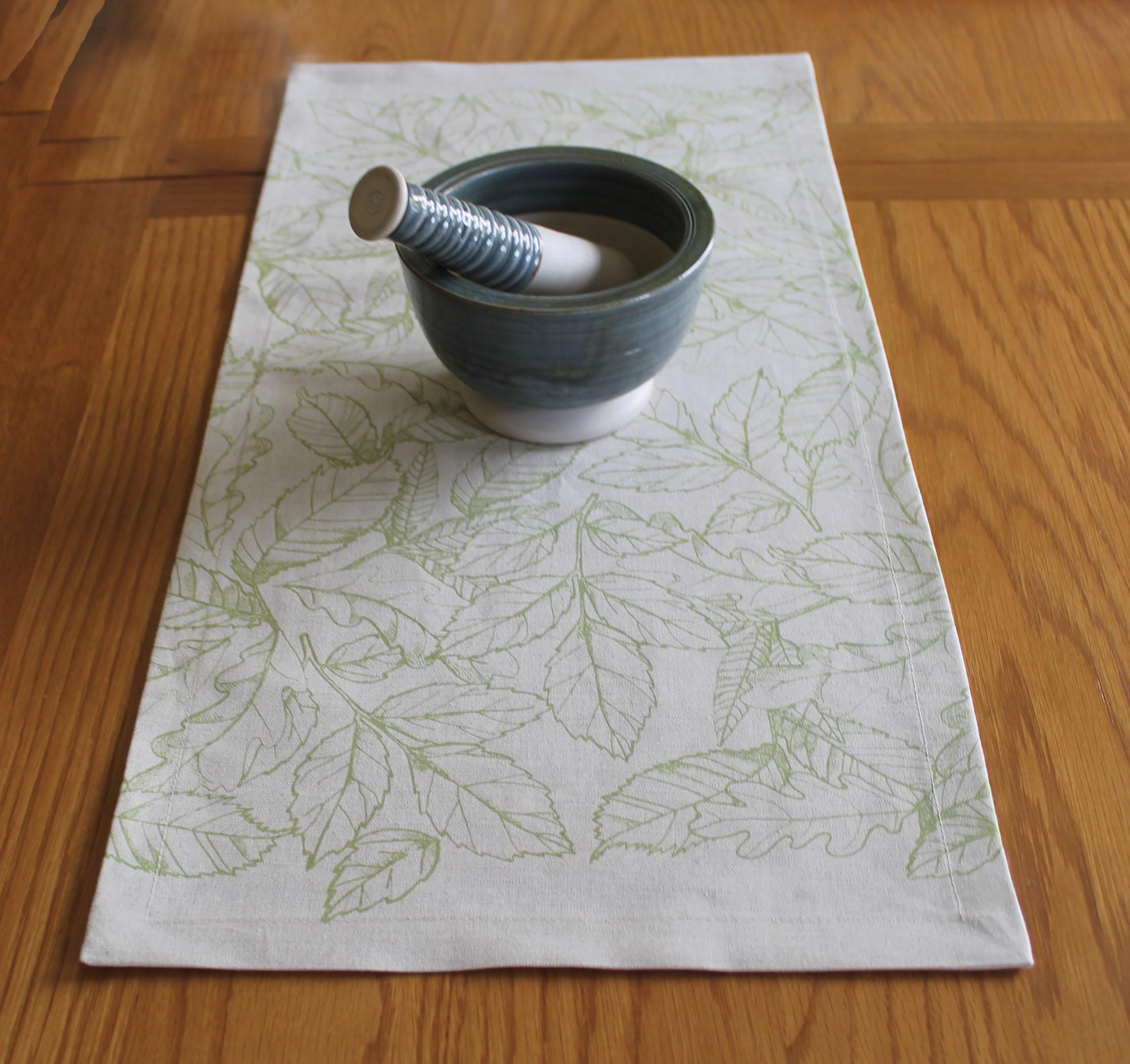 Leaves Screen Print Table Runner, White Irish Linen