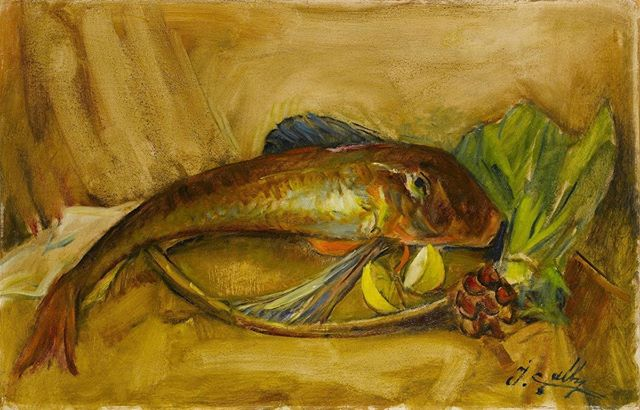 İbrahim Çallı, Still Life with Fish. 〰️ Today is the death anniversary of İbrahim Çallı. We commemorate Mr. Çallı whose influence was so strong that the 1914 generation of painters in Turkey was also referred as the Çallı Generation. #umayanaloves #turkish #art #muse #impressionism #painting #stilllife #fish