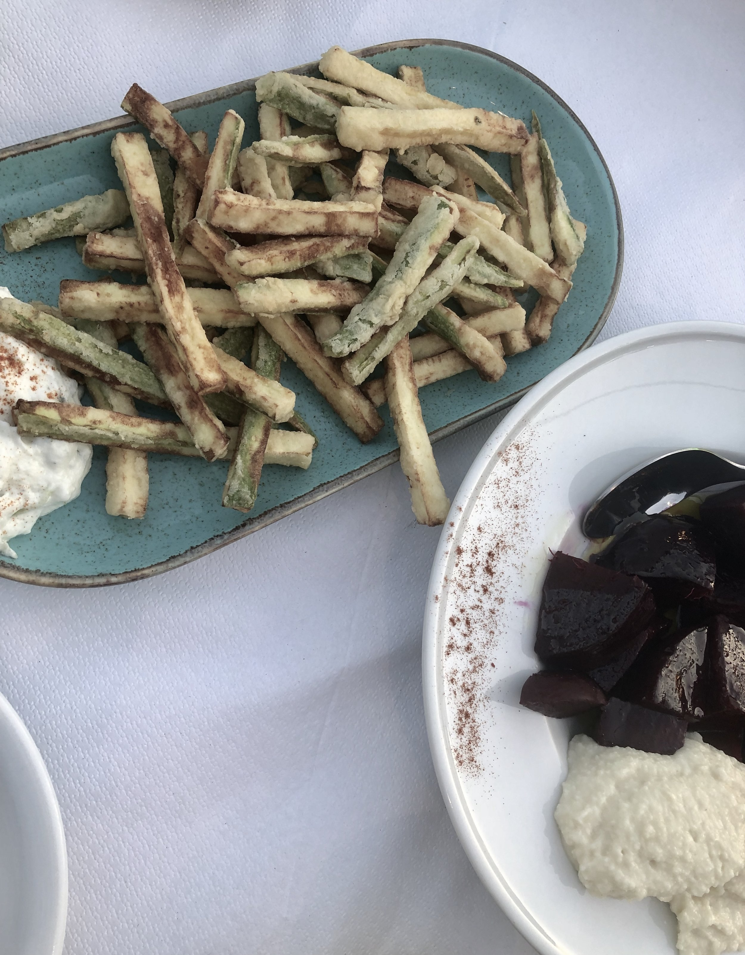 Fried zucchini with tzatziki and beetroot with tarator    Apagio Tavern, Poros