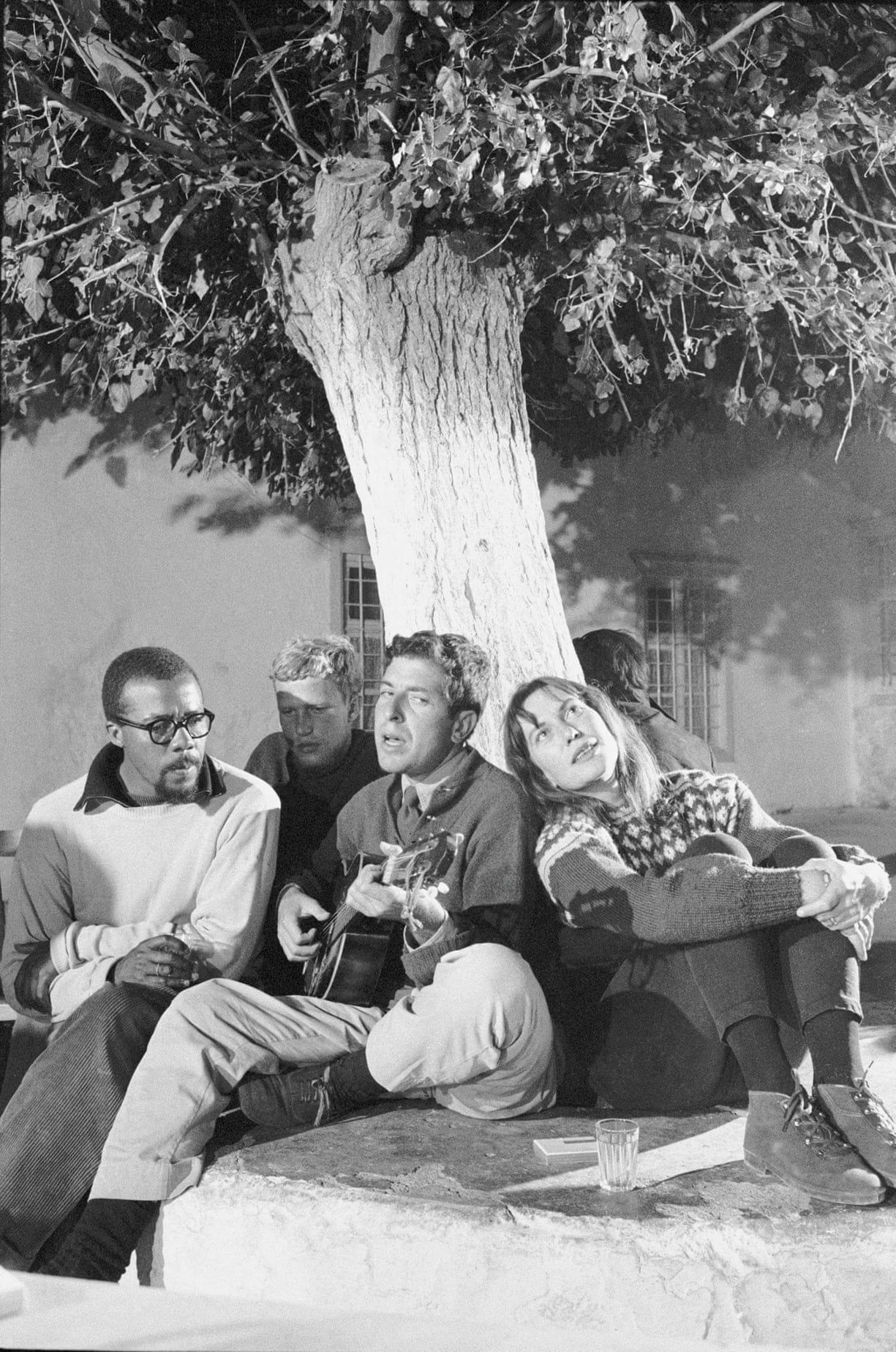 Leonard Cohen and his friends, 1964, Under the tree - which is now located in front of the Xeri Elia Tavern's platia.