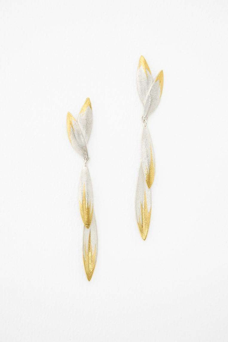 Flight Earrings.  Silver, Keum-boo