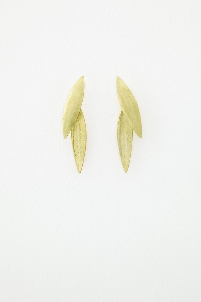 18ct Gold Plume Earrings
