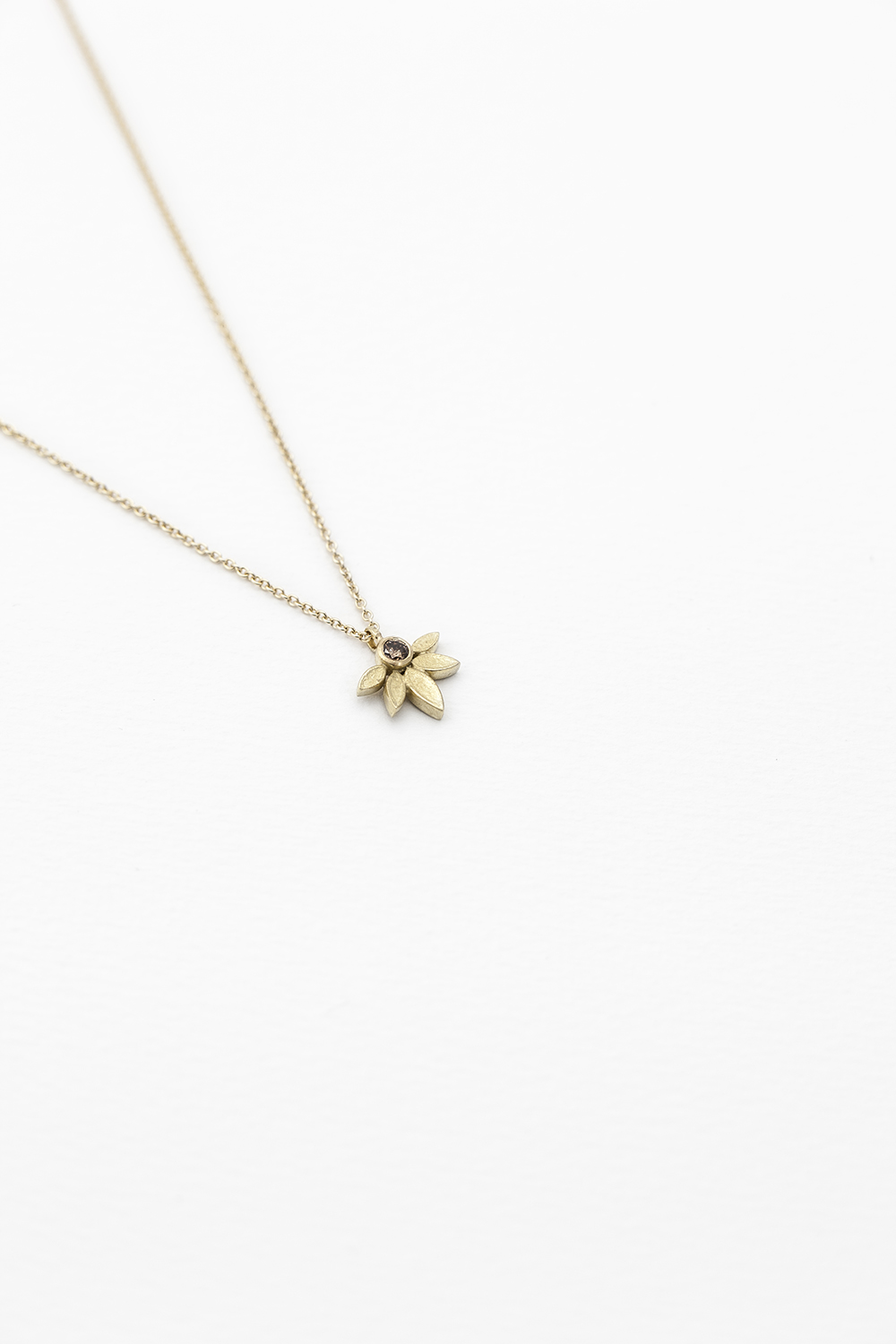 Lotus Pendant, 18ct Gold with Cognac Diamond