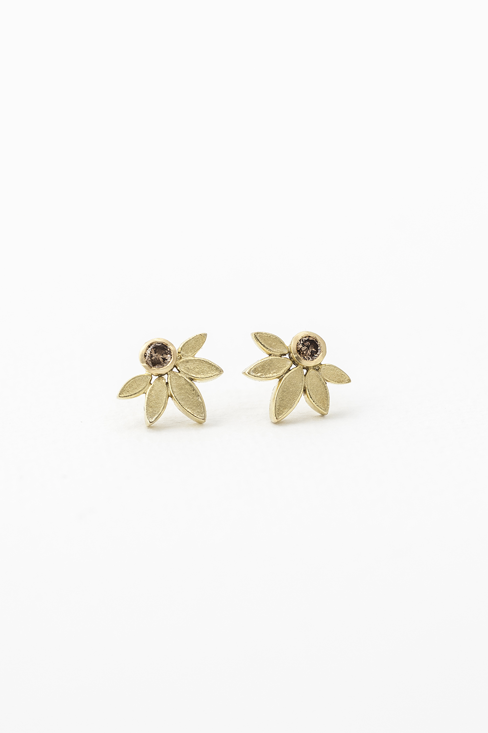 Lotus Studs, 18ct Gold and Cognac Diamonds