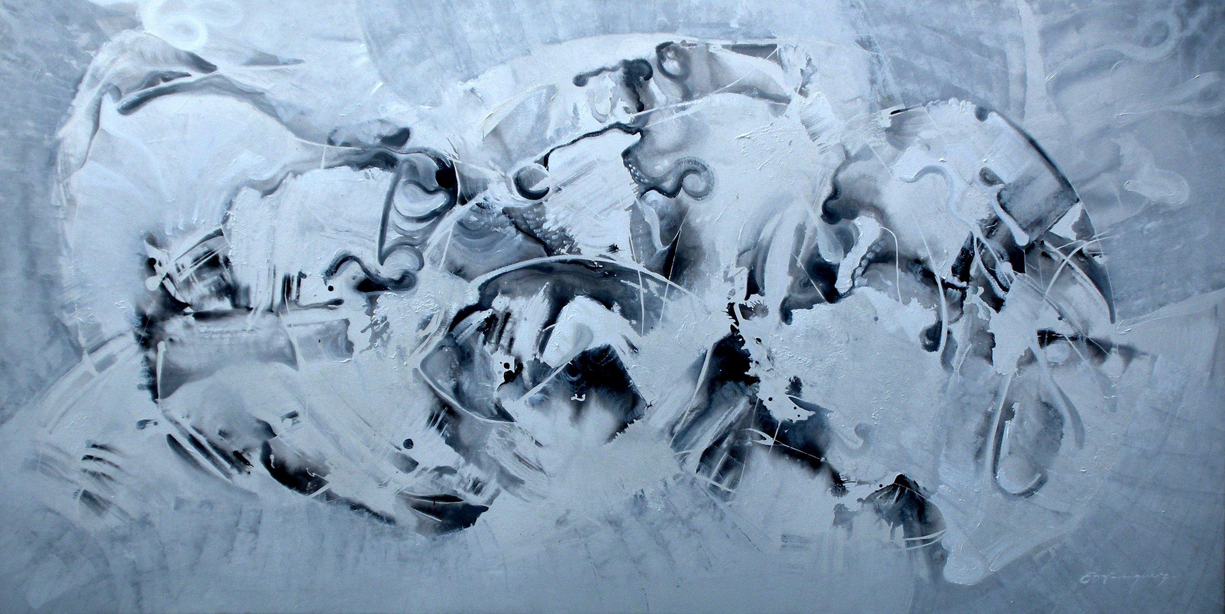 """Crustacean residues""- mixed media, 35x70""."