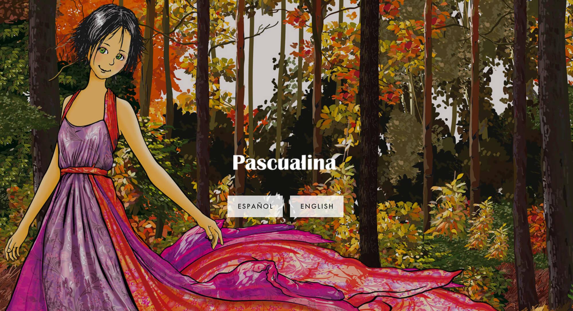 Esta es la web de  Pascualina . Con total honestidad, no me queda muy claro de qué va la marca, más allá de que tiene que ver con ilustración, pero es un buen ejemplo de uso de una Cover Page de Squarespace para un sitio bilingüe.