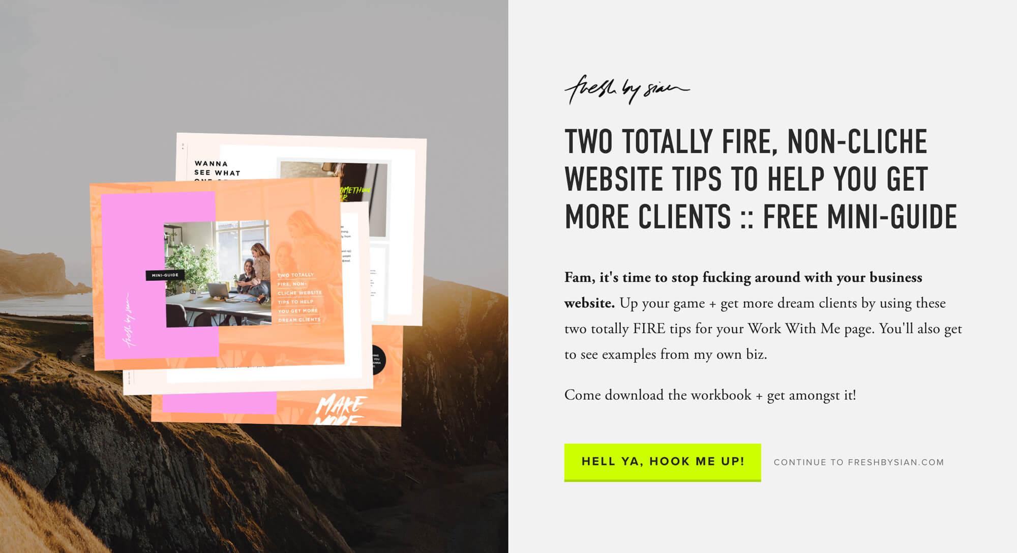 Esta es la home de  Fresh by Sian , la web de una diseñadora norteamericana, en la que frece de entrada un freebie. Puedes optar por descargarlo, o seguir al sitio.