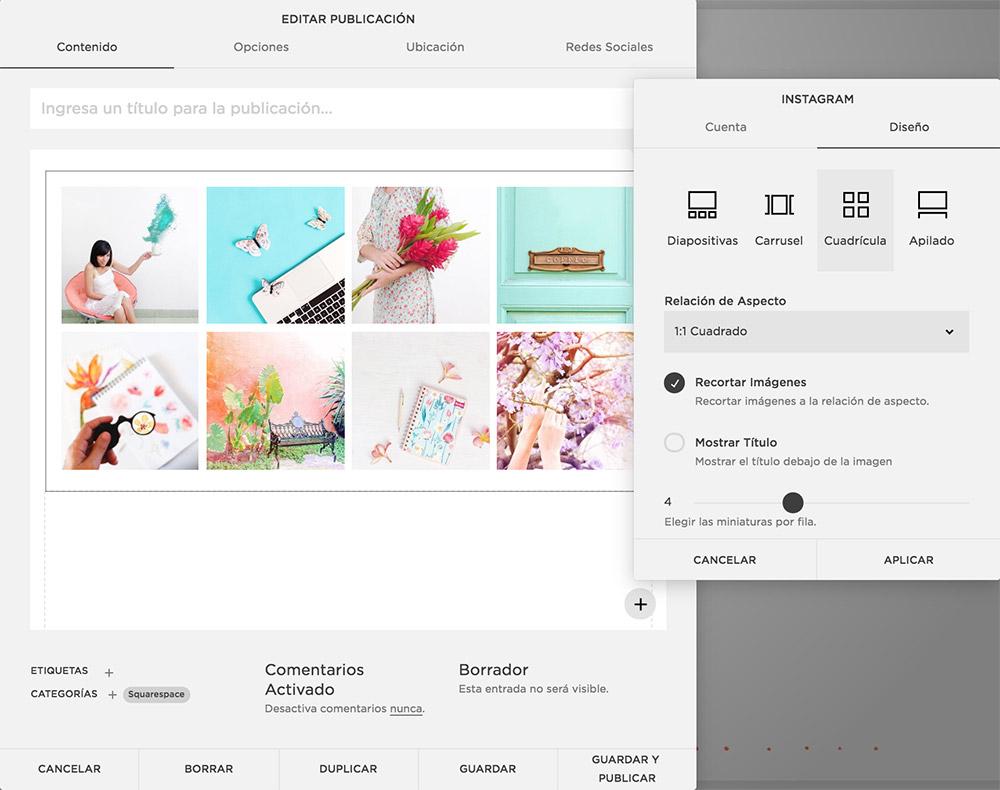 Puedes escoger entre varias opciones de diseño para mostrar tu galería de Instagram en tu web en Squarespace.