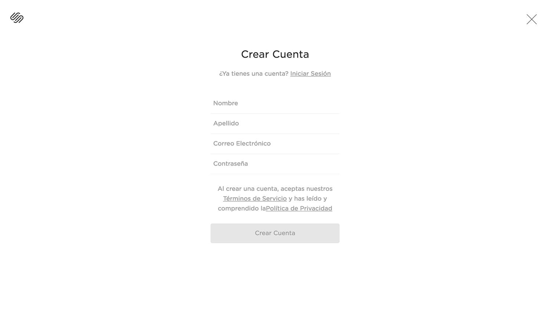 Página para crear cuenta en Squarespace