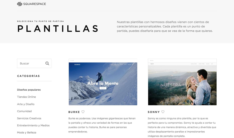 Página de plantillas en español