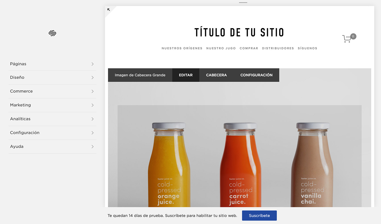 Así se ven una cuenta y un sitio de Squarespace recién creados desde la página web de  Squarespace en español .
