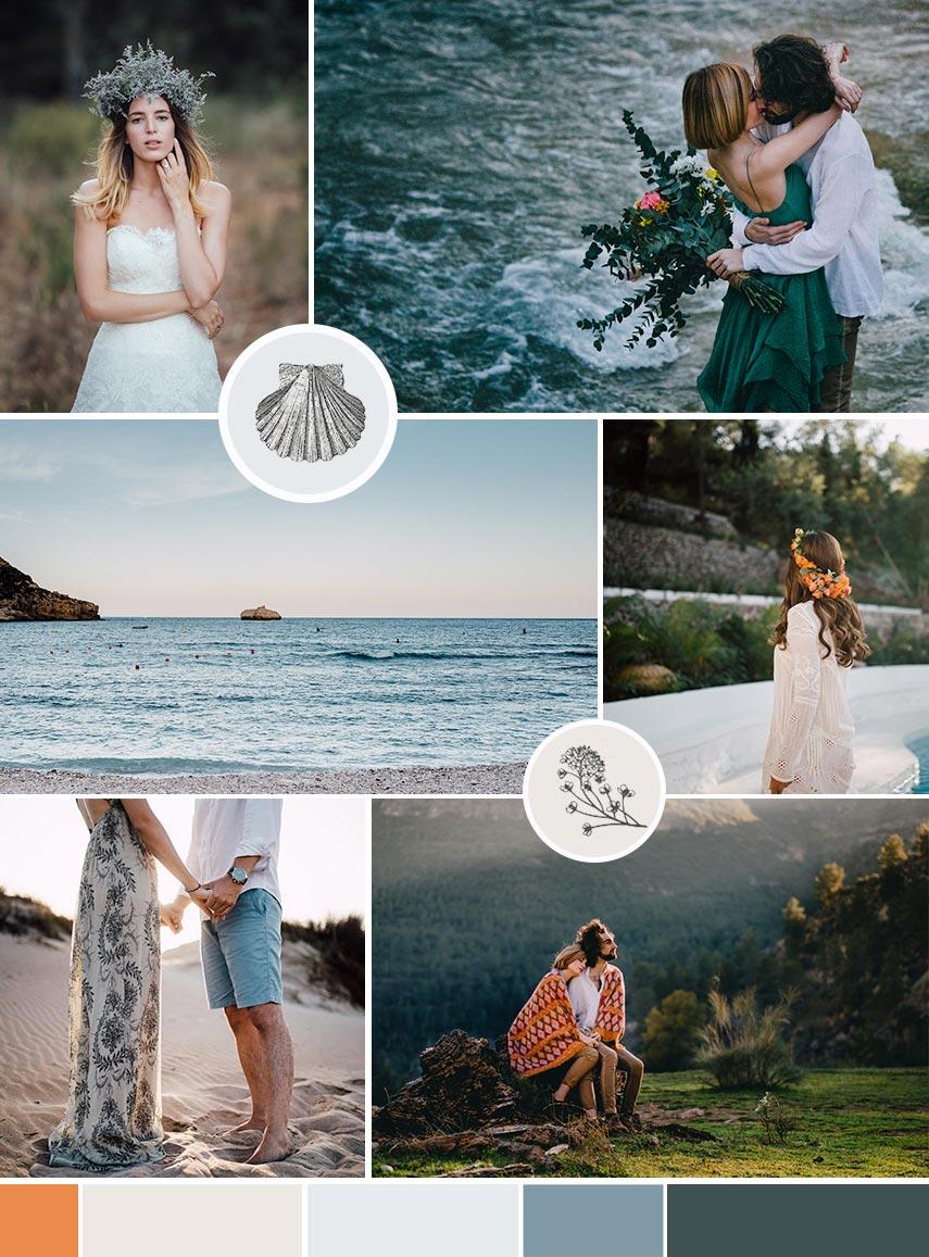 Moodboard de inspiración visual para el diseño web en Squarespace de Dani Arjones, fotógrafo de bodas en Valencia. #Moodboard #Squarespace #SquarespaceEnEspañol #DiseñoWeb #Branding