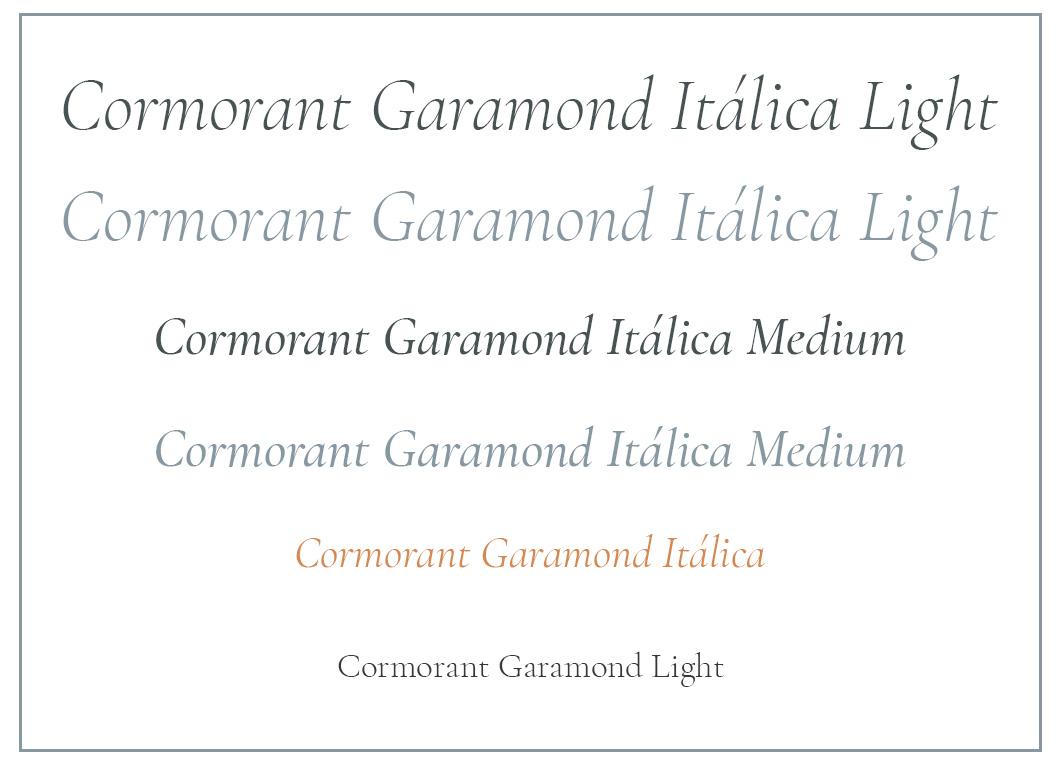 Cormorand Garamond  en las diferentes variantes de tamaños, pesos y colores utilizados en la web.