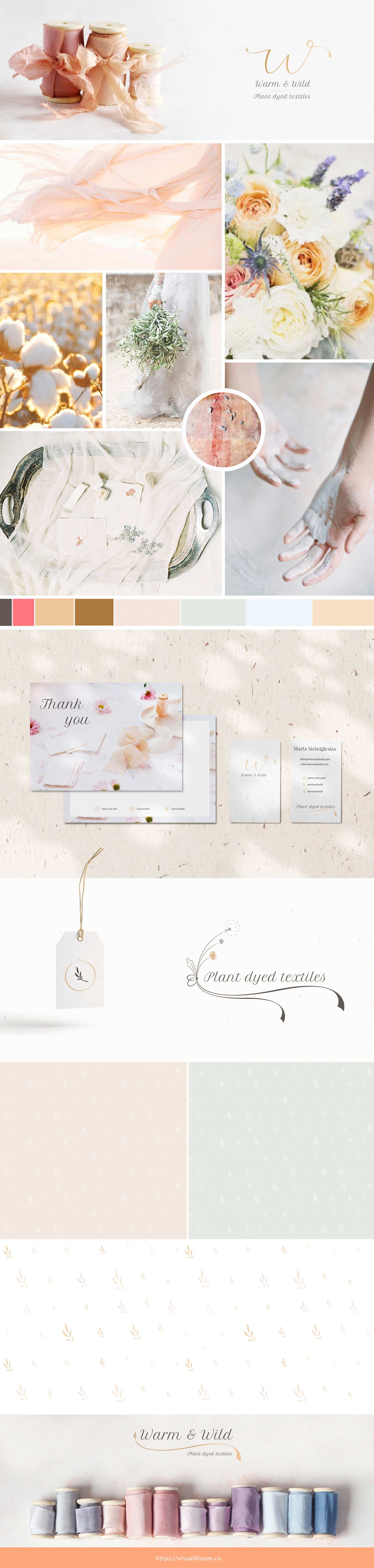 Muestra de la identidad visual diseñada para Warm & Wild, marca slow española de tintes naturales.