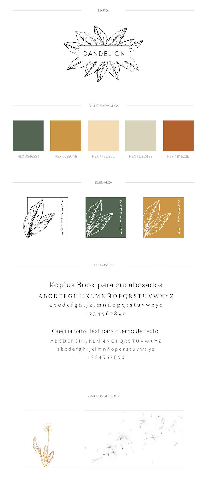 Brand Board para Dandelion Estudio. #Branding #BrandBoard #Diseño