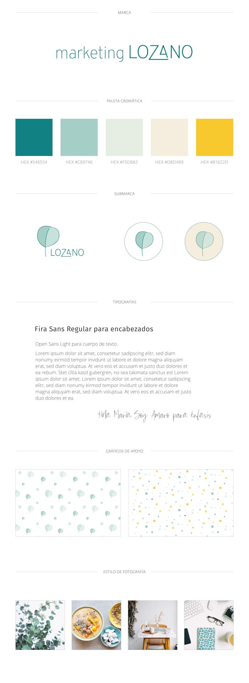Brand Board para Marketing Lozano.
