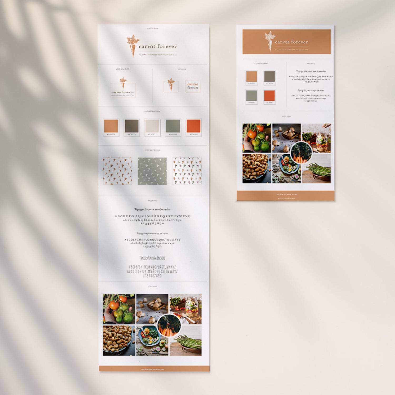 Dos formatos de Brand Board: uno largo para referencia en el diseño, y uno compacto optimizado para compartir en Pinterest. #BrandBoard #Branding #Diseño