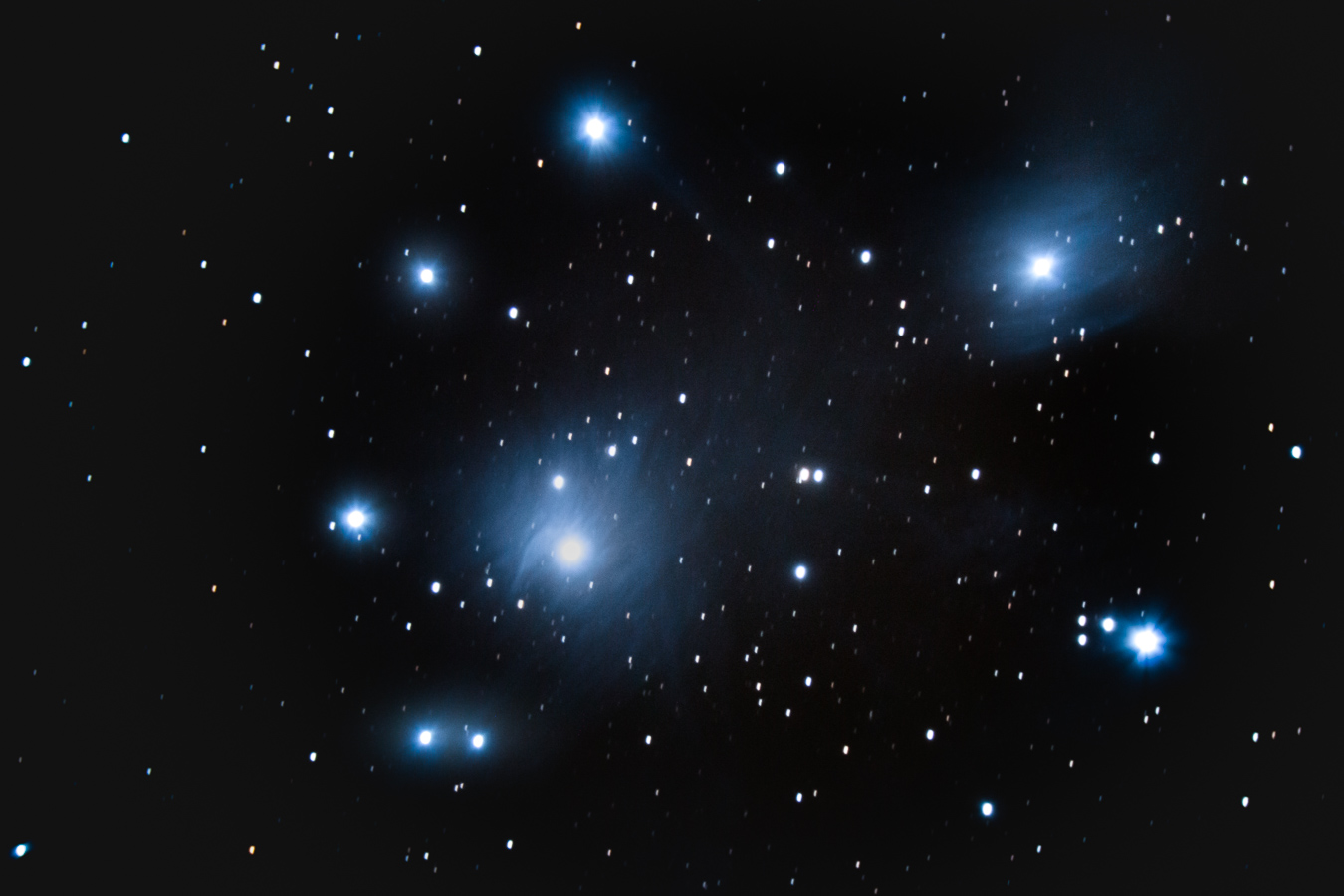 "M45, the Pleiades or ""Seven Sisters"" star cluster in Taurus. Imaged with focal length reducer on Celestron 8SE."