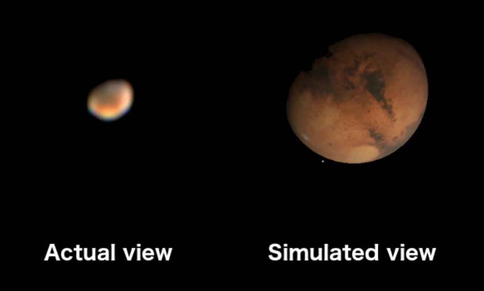 "Mars    as it appeared on October 28, 2018 through my 8""    Celestron    telescope (left) compared with a simulated view showing finer details in the Starry Night software program (right). I took the left image out my living room window from the comfort of my apartment. Mars was positioned such that its phase appears much like a gibbous moon from Earth. If I'm reading my map correctly, the northern most dark area is Meridiani Planum (landing site of the    Mars rover    Opportunity) and smaller dark area to the south is Noachis Terra. The bright white spot at the    Martian    south pole is dry ice (frozen CO2) caked over a vast amount of water ice. Martian    astronauts    might one day use the resources from the Martian polar ice to sustain a colony."